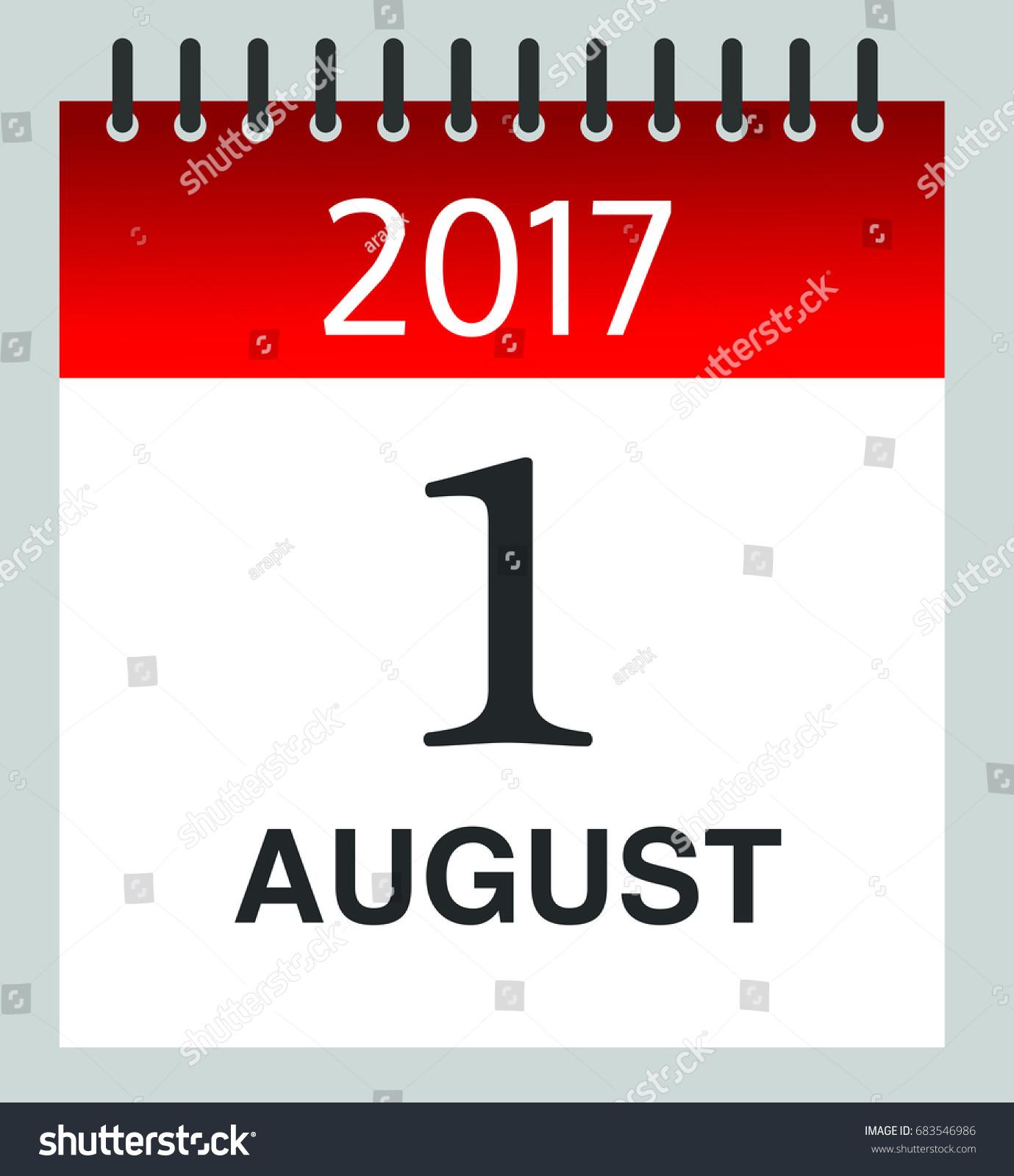 1 August 2017   Daily Calendar  Illustration   Vector