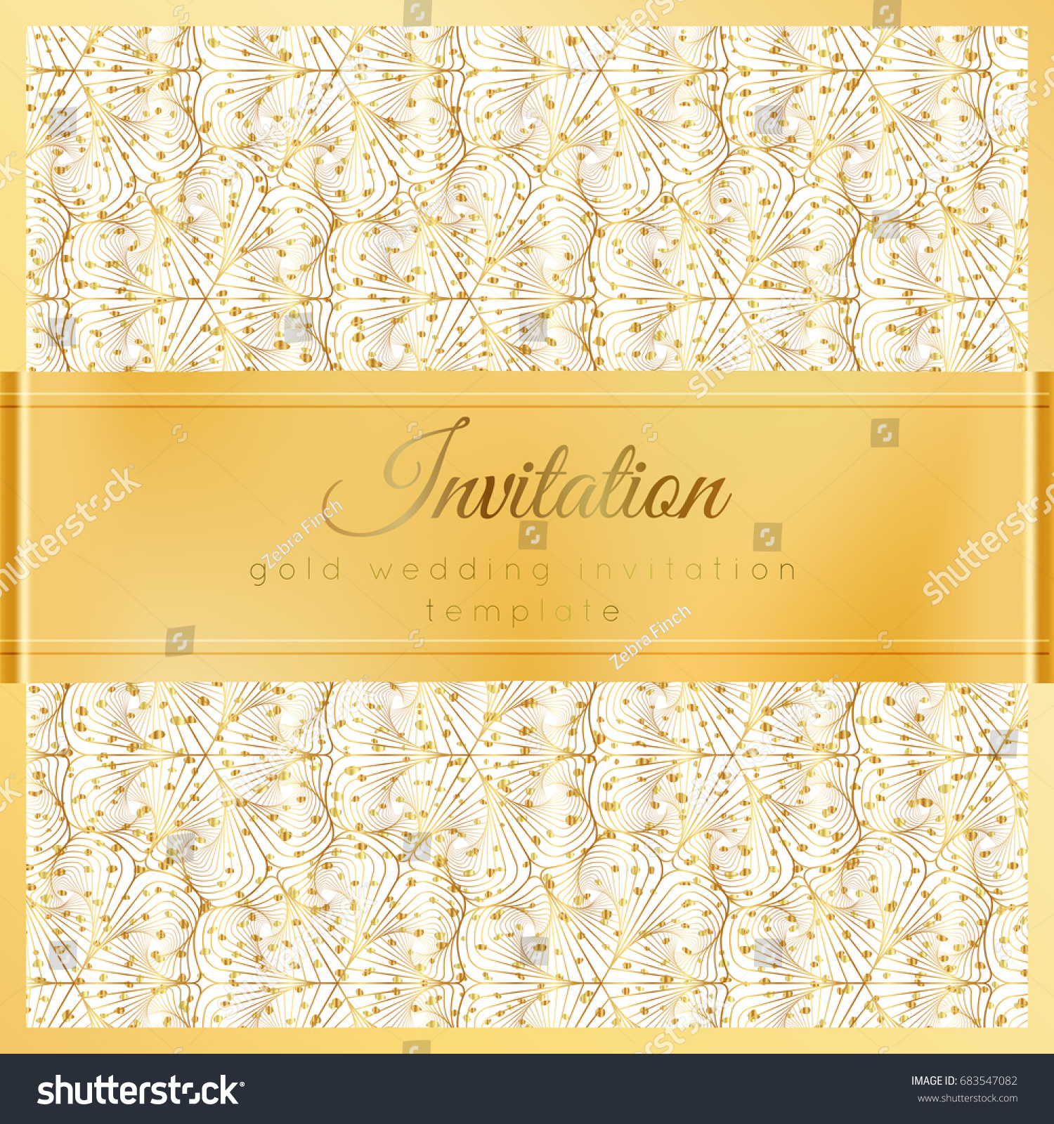 Luxury Wedding Invitation Template Gold Shiny Stock Vector