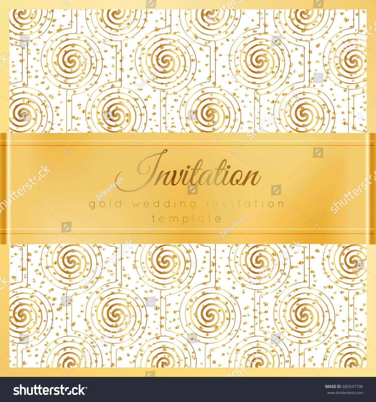 Luxury Wedding Invitation Template Gold Shiny Stock Vector ...