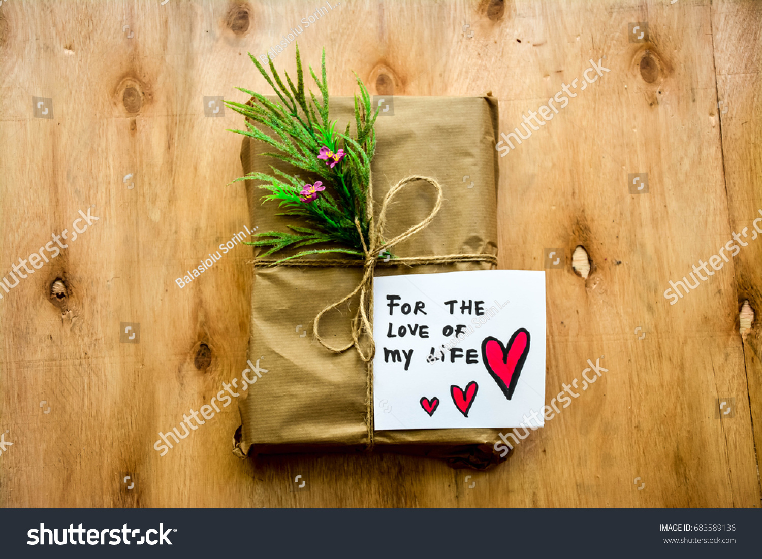 Rustic gift paper craft love my stock photo 683589136 shutterstock rustic gift in paper craft and for the love of my life text on a note jeuxipadfo Images