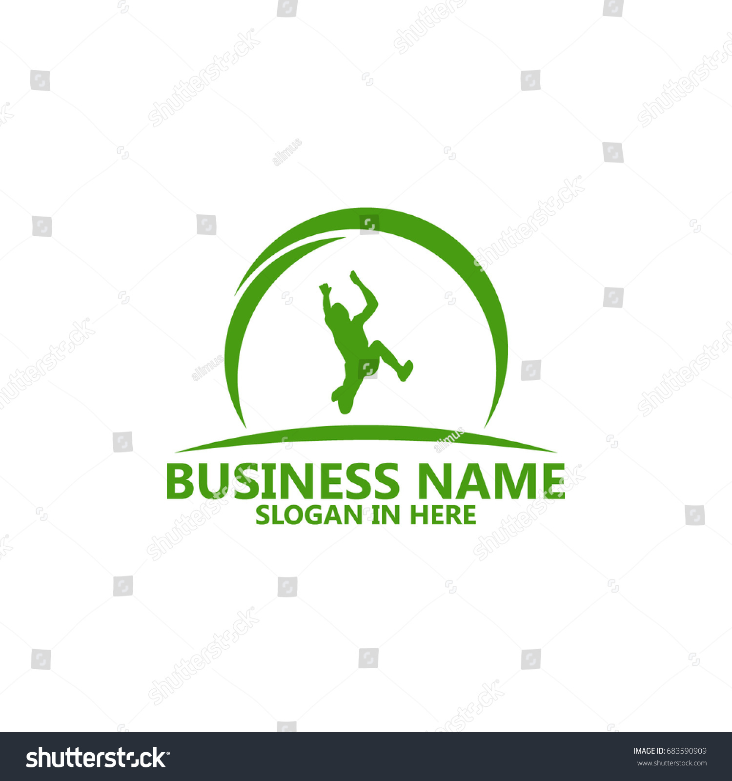 Long jump logo template design