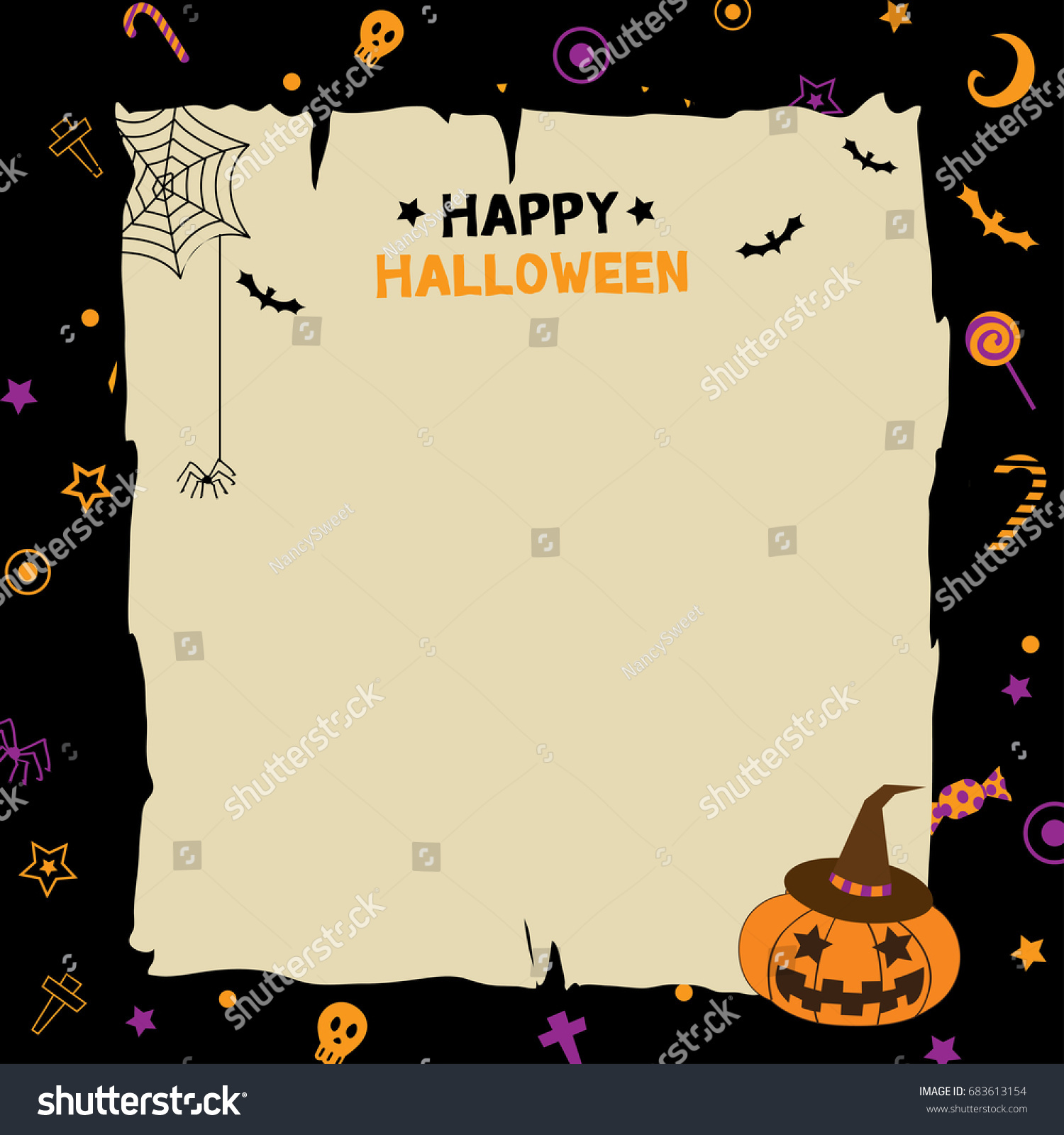 illustration vector happy halloween party template stock vector