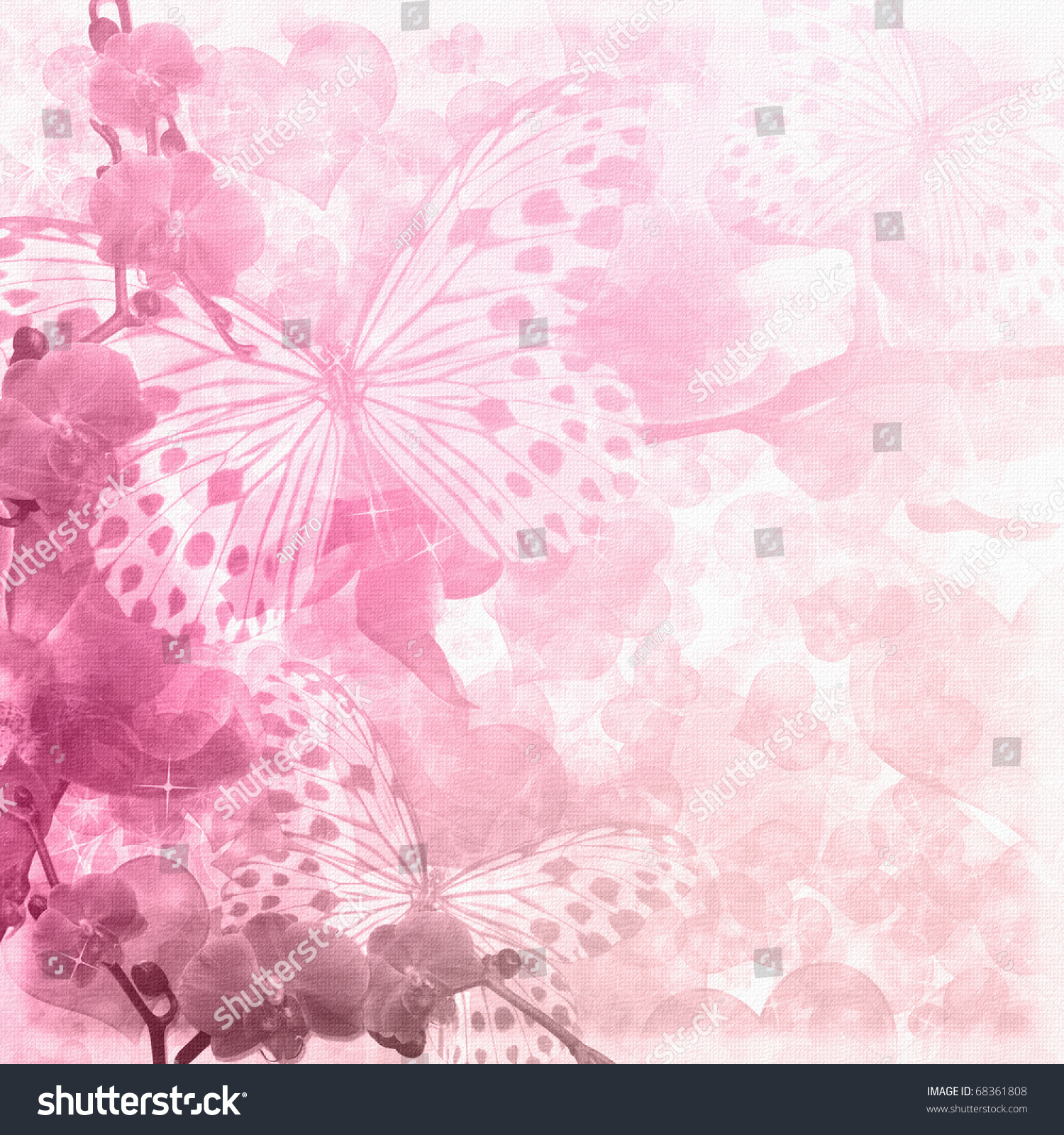 Butterflies Orchids Flowers Pink Background Stock Illustration
