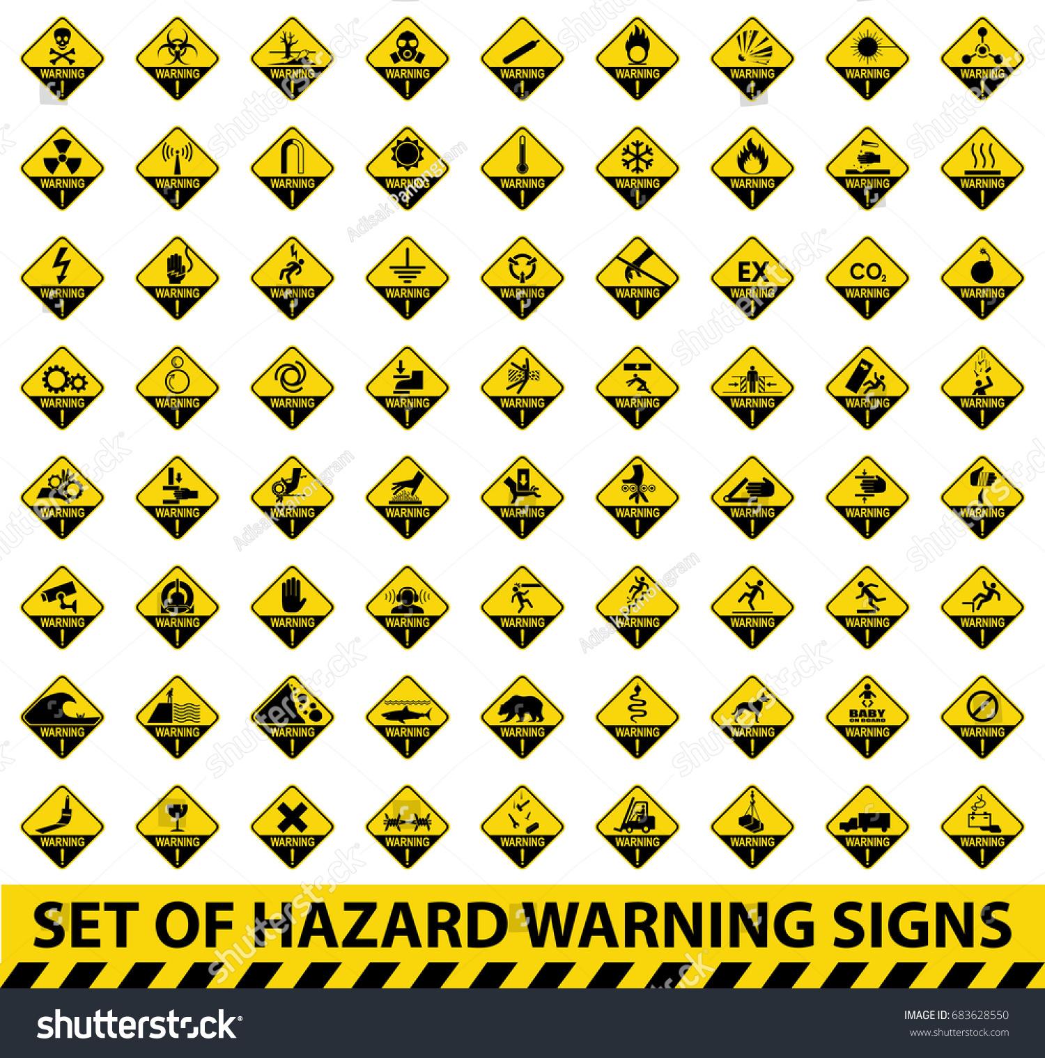 Set Hazard Warning Signs Symbol Illustration Stock-vektorgrafik ...