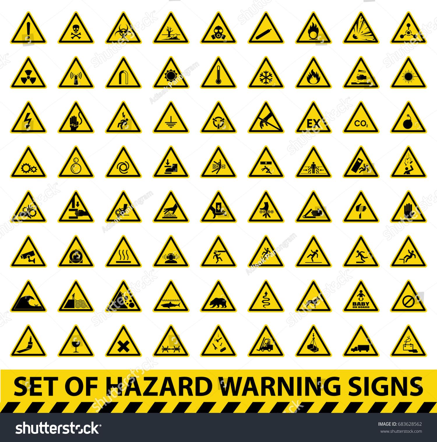 Set Hazard Warning Signs Symbol Vector Stock Vector Royalty Free