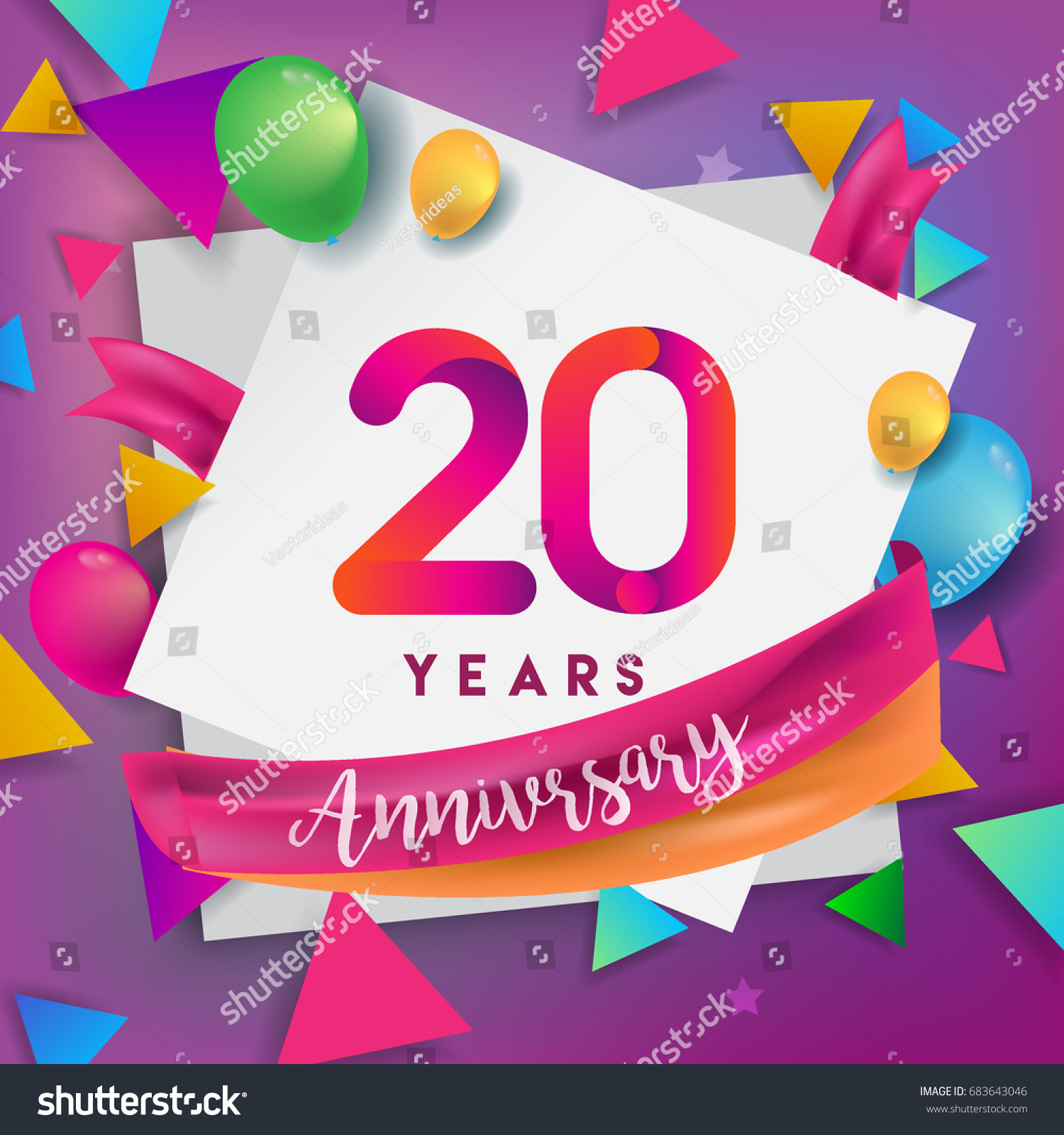 20th years anniversary celebration design balloons and ribbon colorful design elements for banner