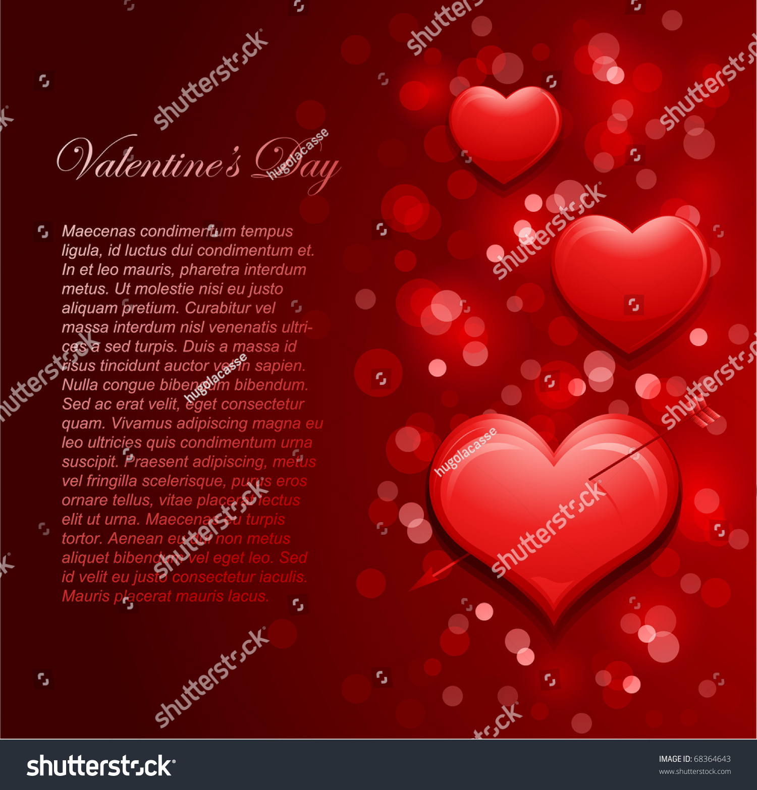 happy valentines day letter with defocused lights and hearts in background