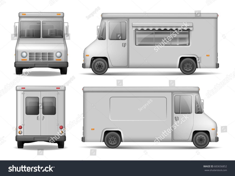 food truck vector template car advertising stock vector 683656852 shutterstock. Black Bedroom Furniture Sets. Home Design Ideas