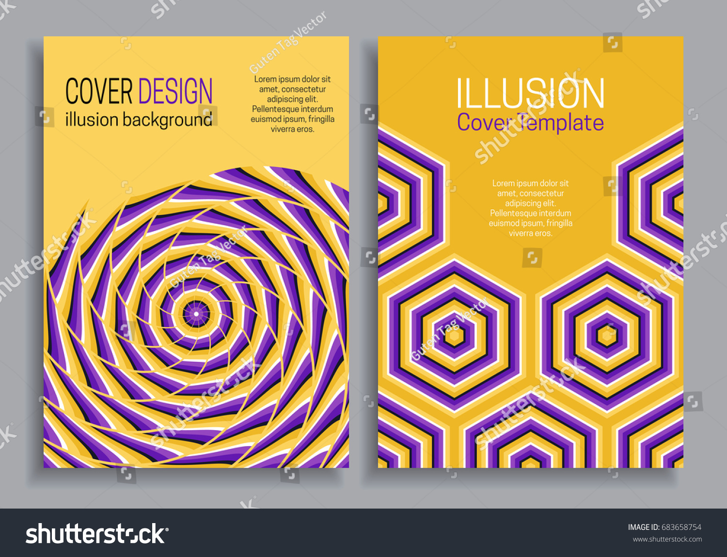 Purple Yellow Book Cover Templates Optical Stock Vector Royalty
