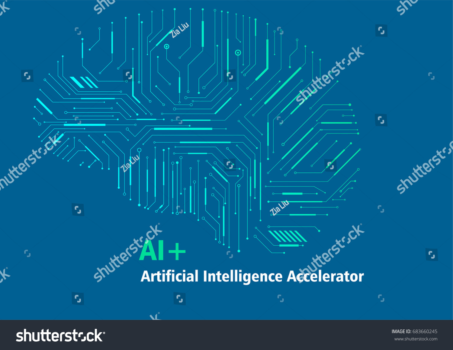 Circuit diagram style brain science vector background, meaning artificial  intelligence
