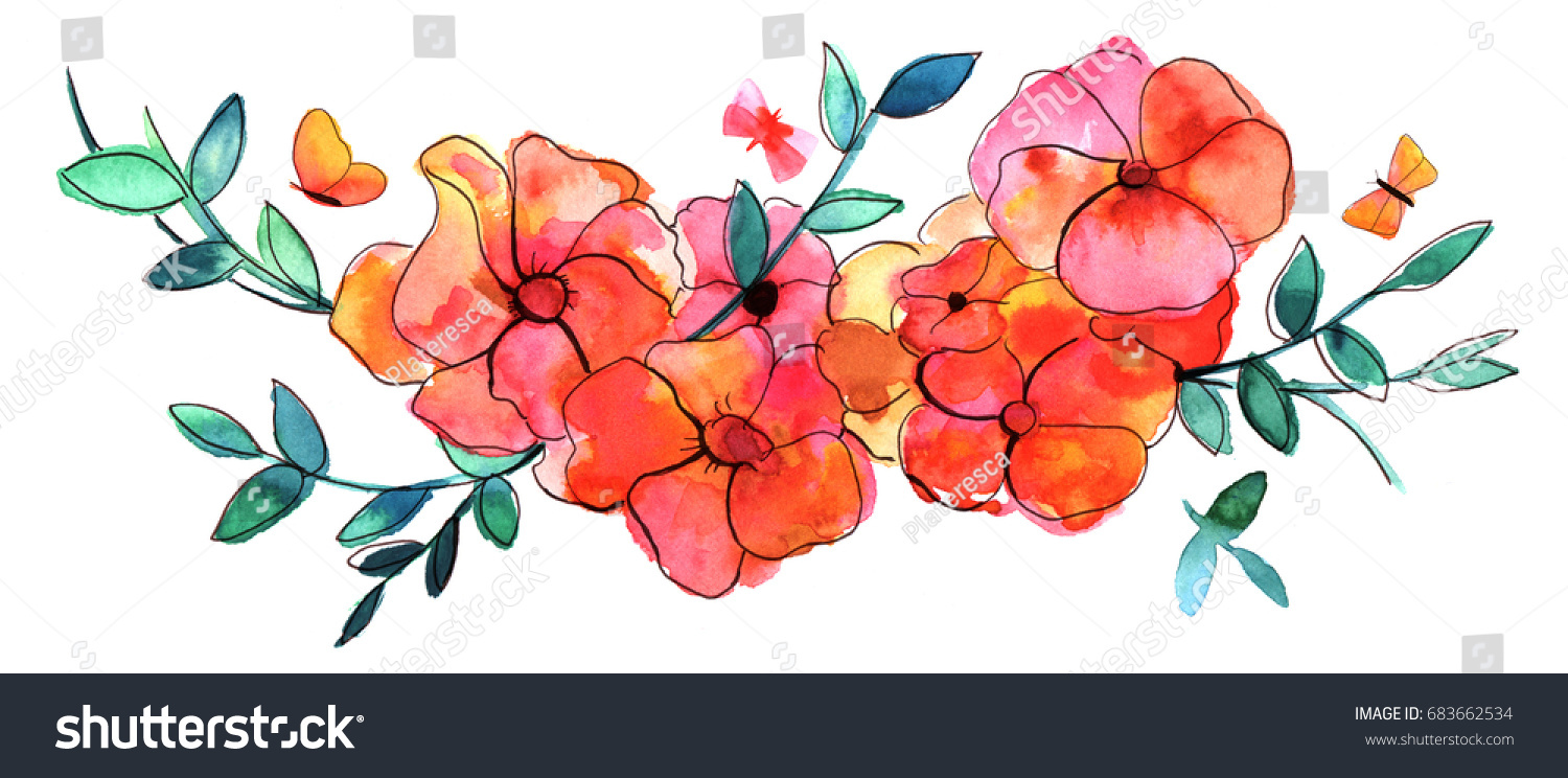 Abstract Watercolor Ink Drawing Bouquet Flowers Stock Illustration ...