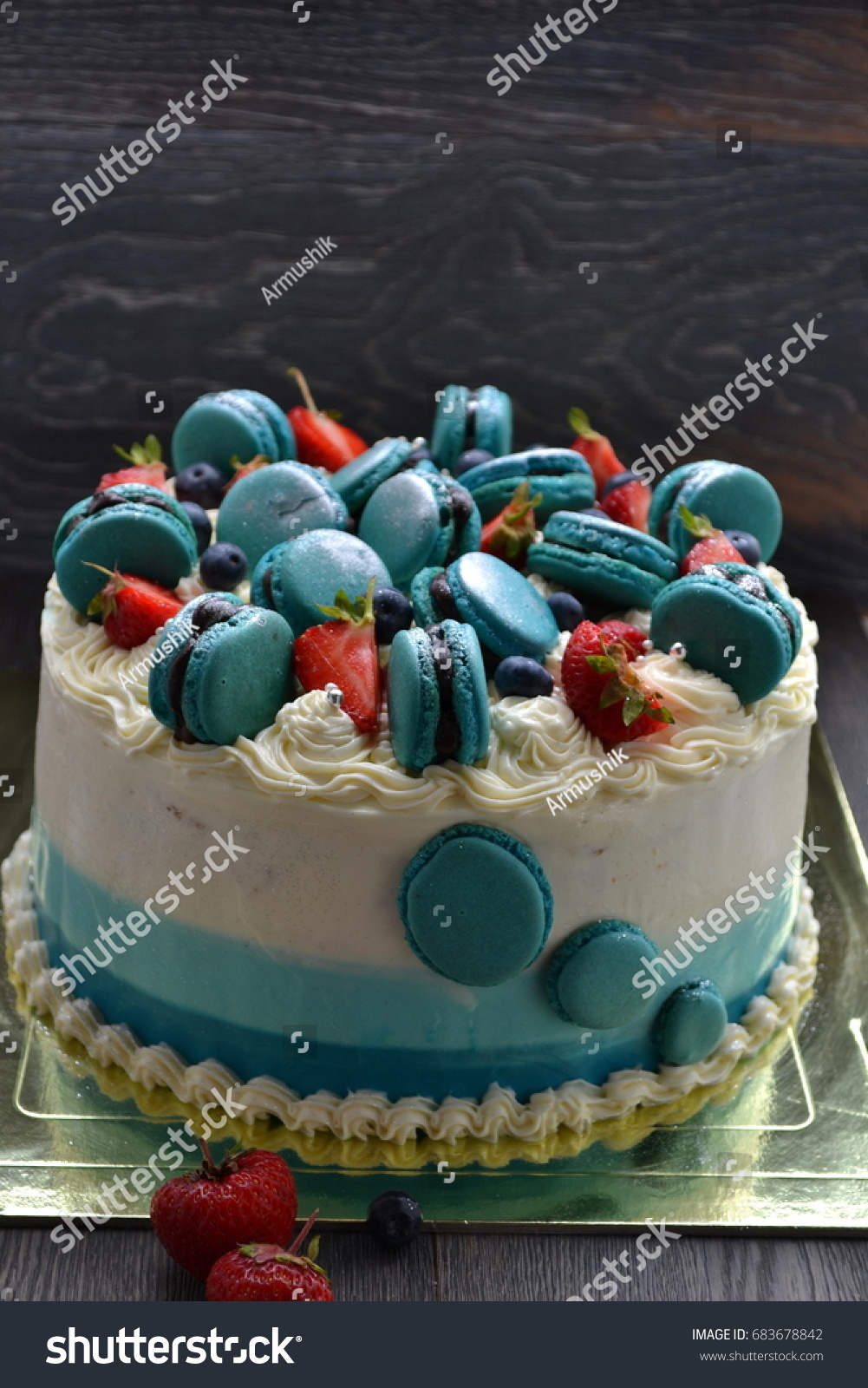 Beautiful Ombre Cake Birthday Cake French Stock Photo Edit Now