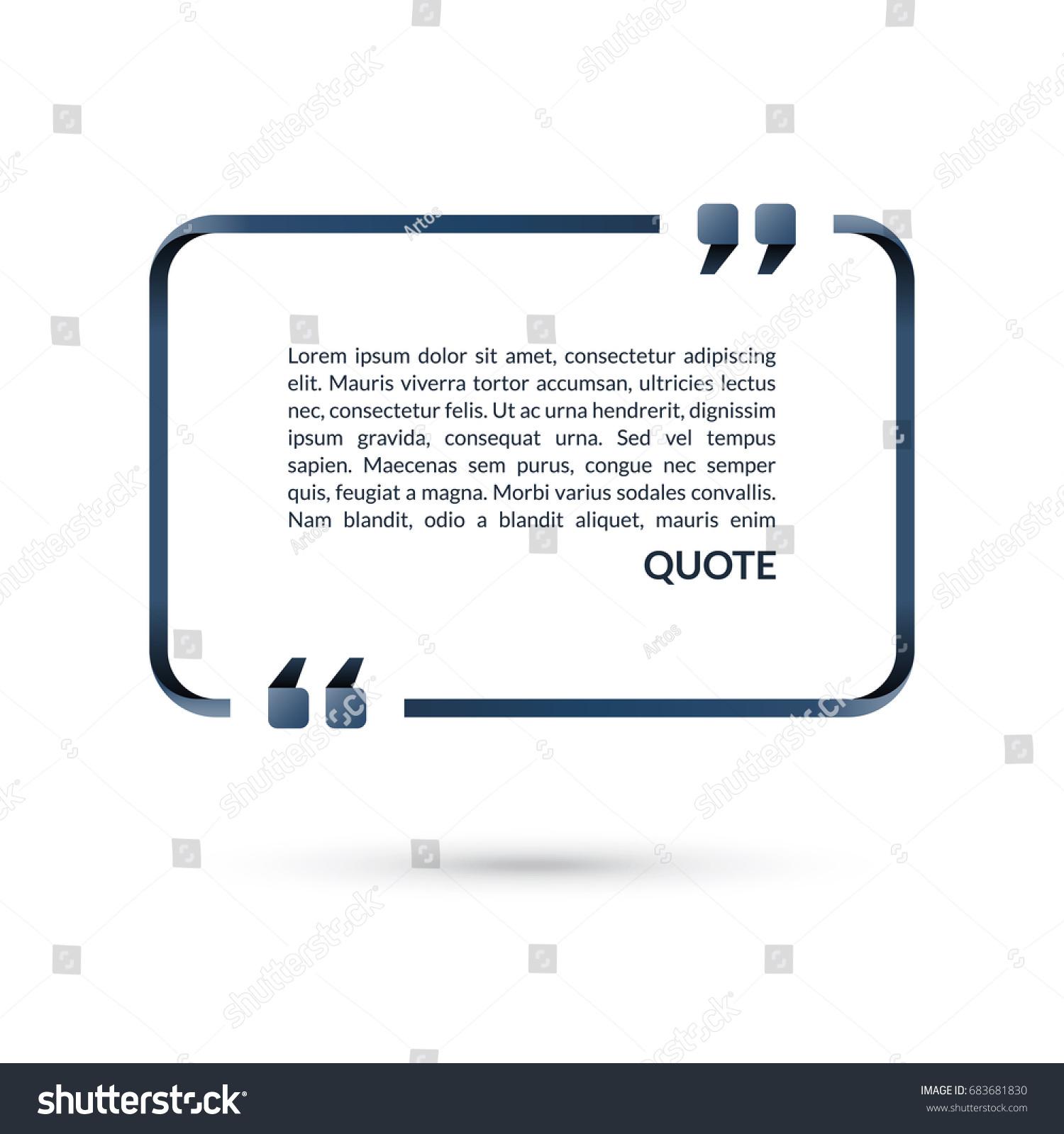 Quote Box Speech Bubble Blank Frame Stock Vector 683681830 ...
