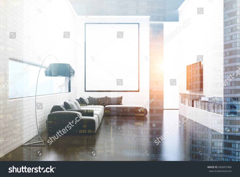 White Brick Wall Living Room Gray Stock Illustration 683697484 ...