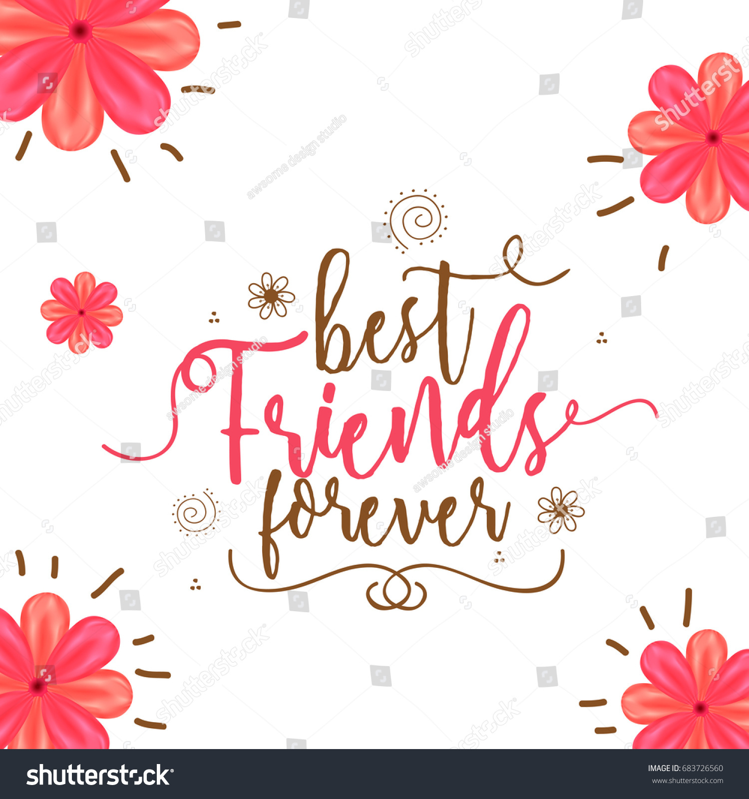 Illustration Happy Friendship Day Best Friends Stock Vector Royalty