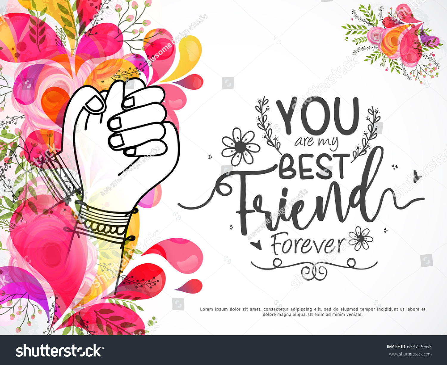 Illustration Holding Hands Promise Friends Forever Beautiful
