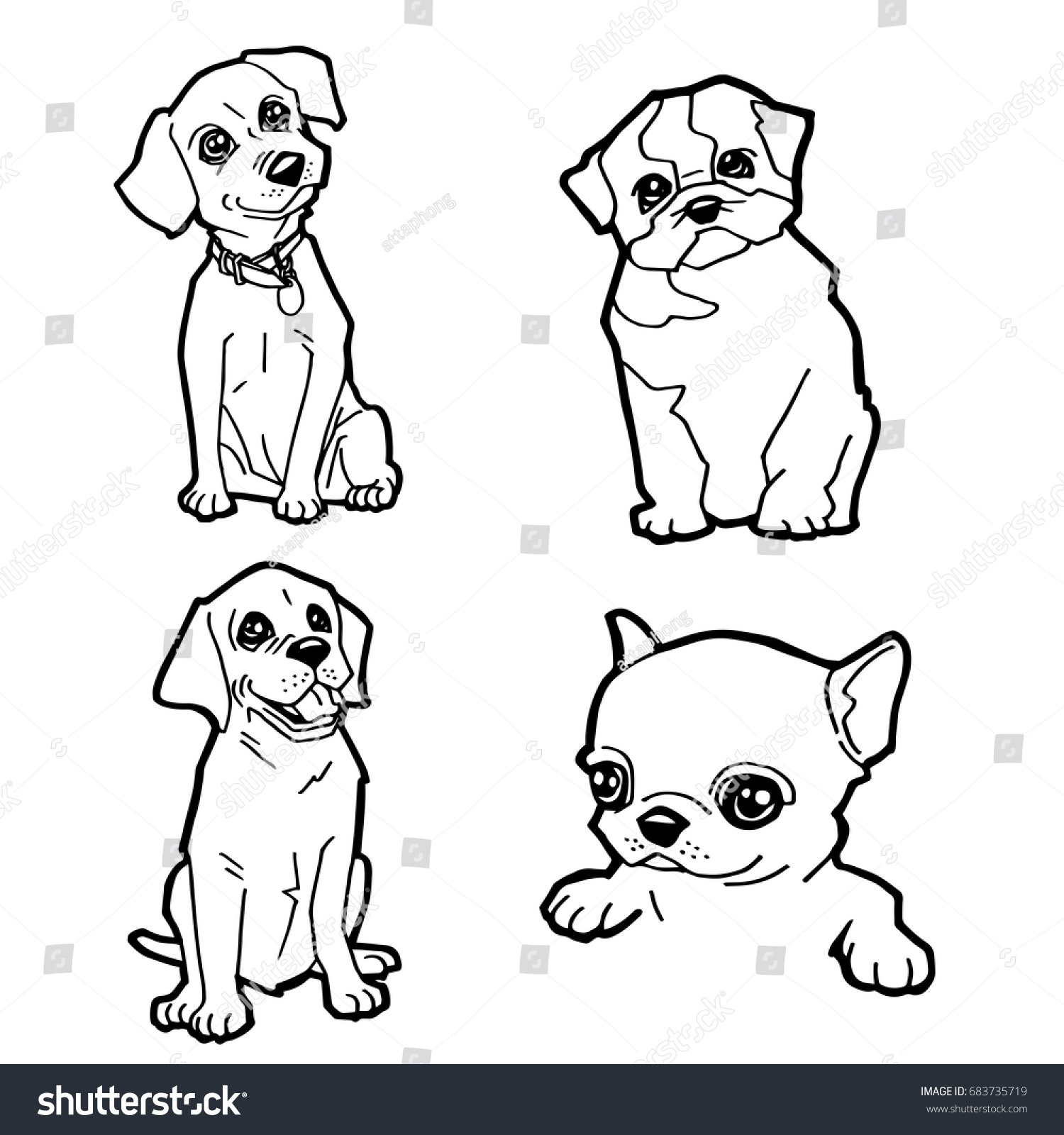 set cartoon cute dog coloring page stock vector 683735719