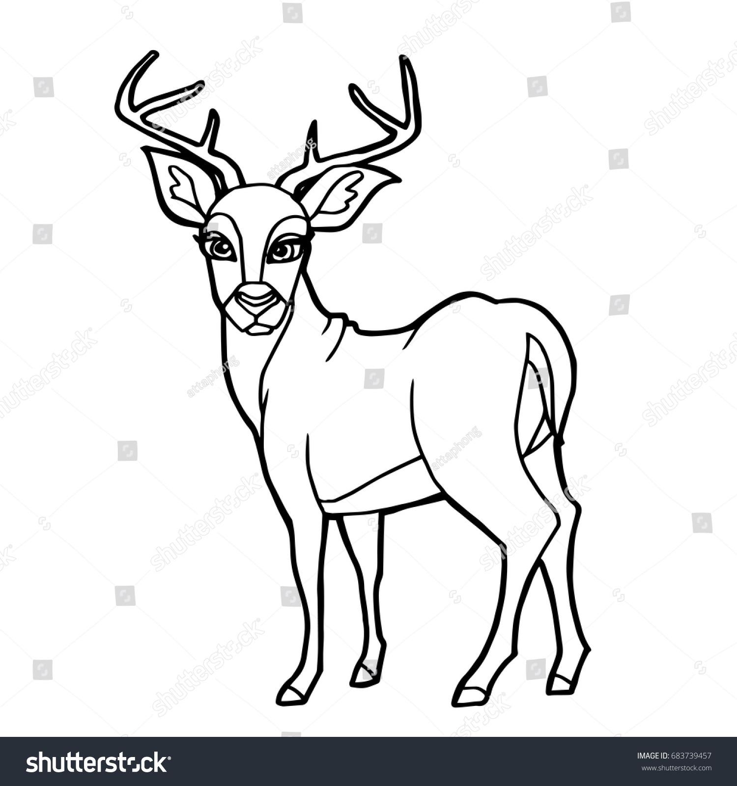 cartoon cute deer coloring page vector stock vector 683739457