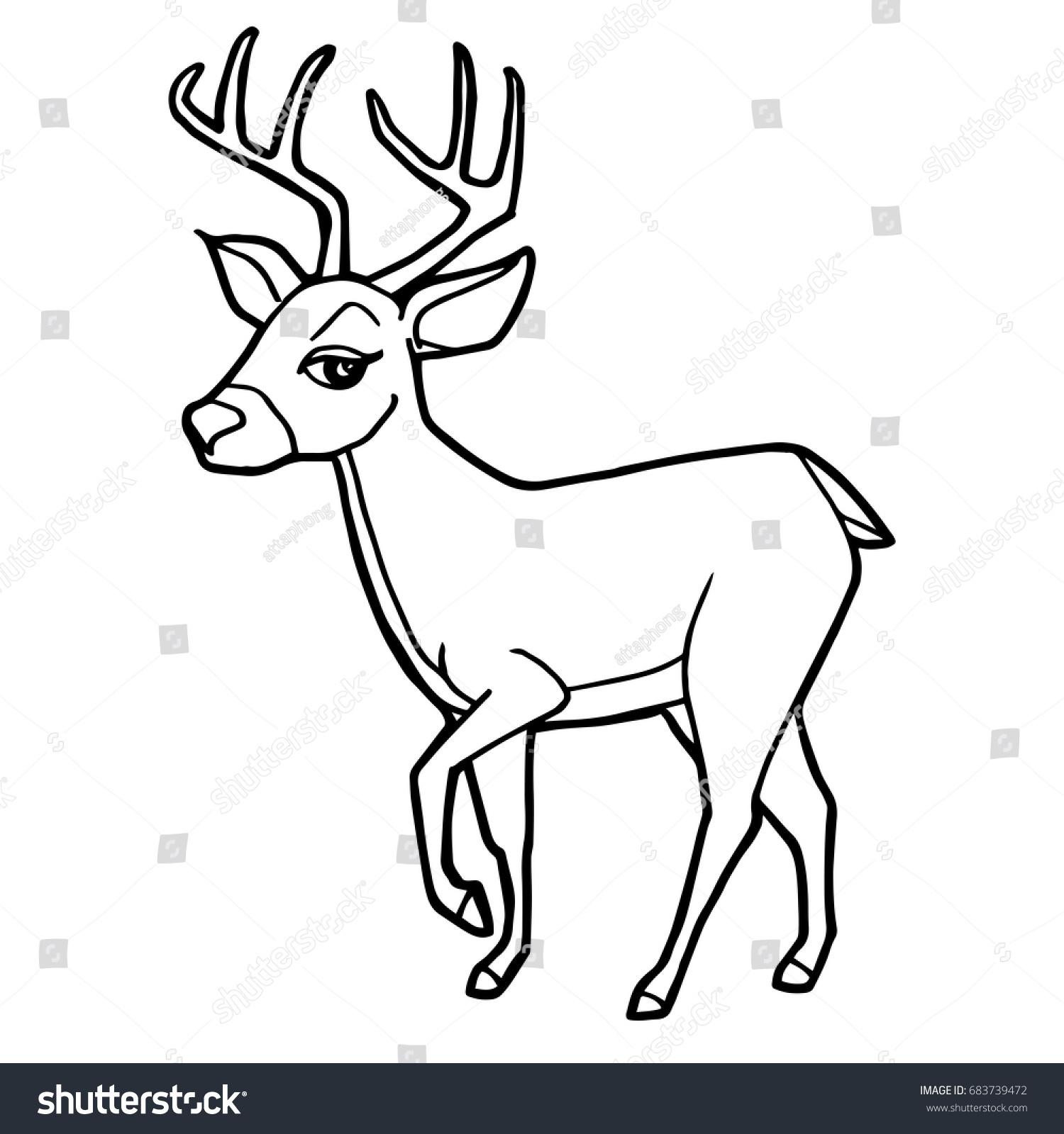 cartoon cute deer coloring page vector stock vector 683739472