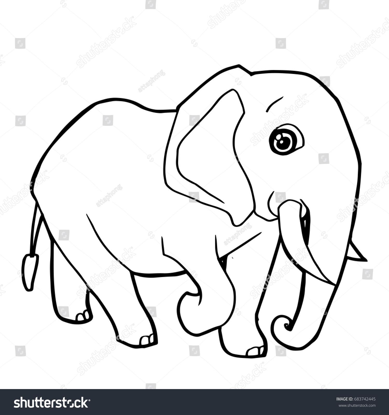 Cartoon Cute Elephant Coloring Page Vector Stock Vector Royalty