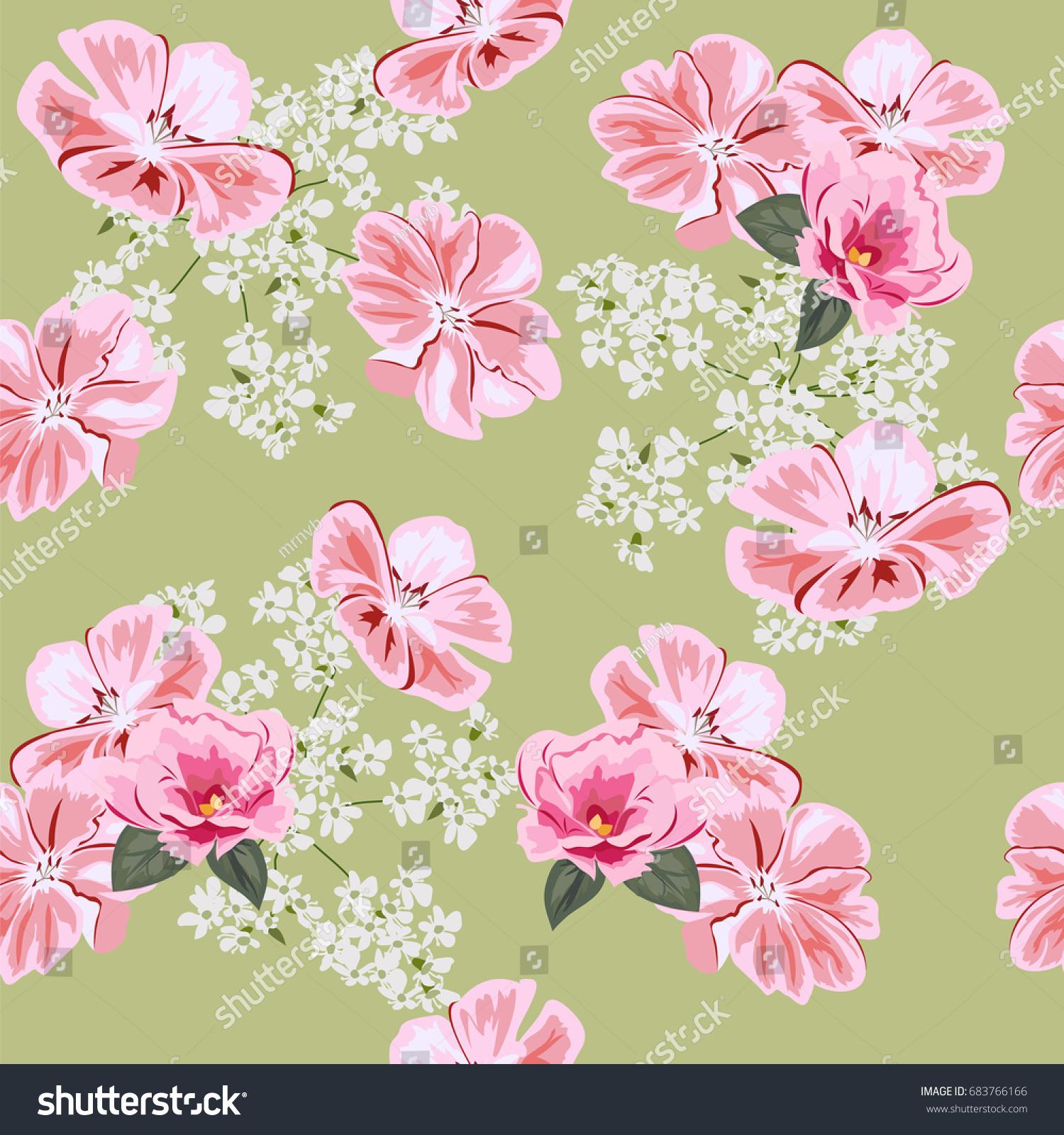 Vintage Seamless Pattern Cute Pink Flowers Stock Illustration