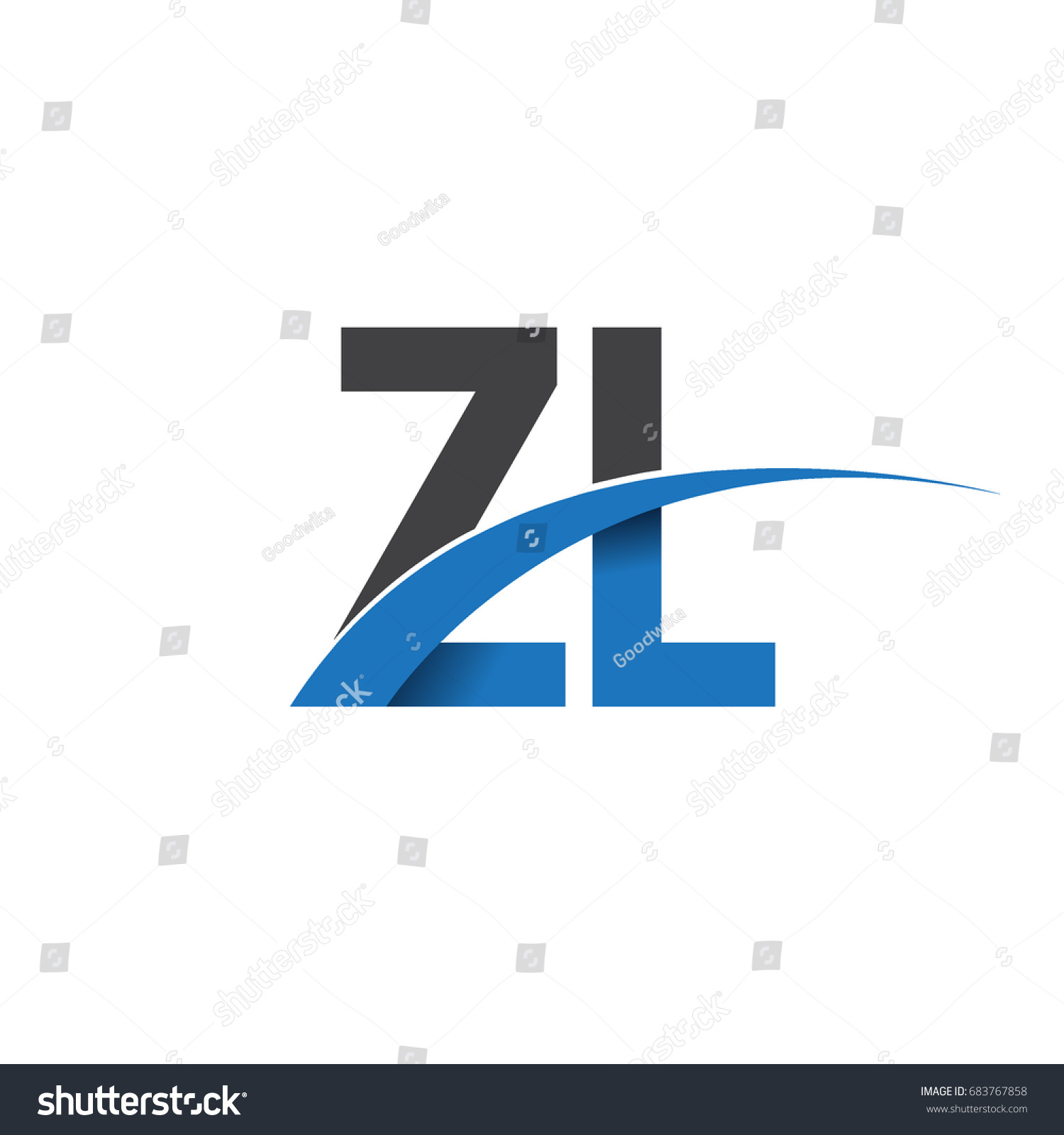 Initial letter zl logotype company name stock vector 683767858 initial letter zl logotype company name colored blue and grey swoosh design vector logo for buycottarizona