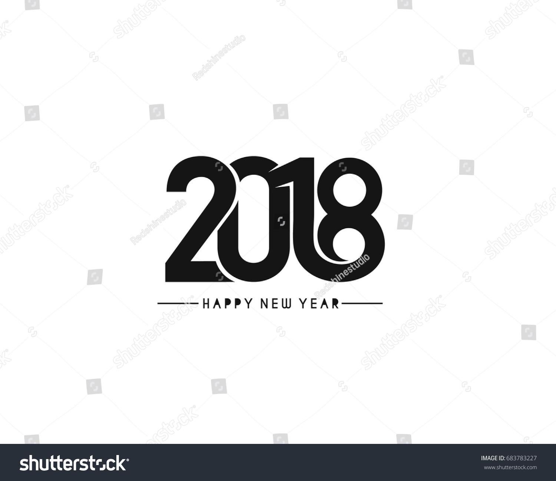 Happy New Year 2018 Text Design Stock Vector 683783227 ...