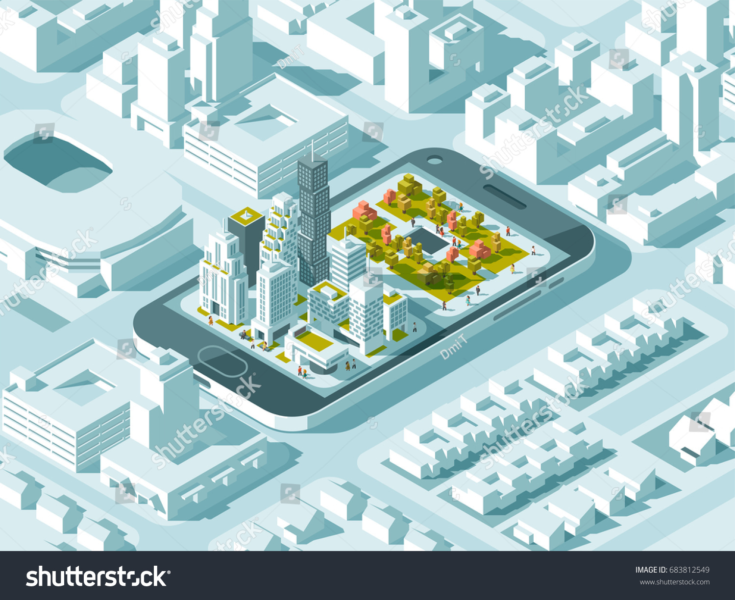 city isometric plan road buildings on stock vector 683812549 shutterstock. Black Bedroom Furniture Sets. Home Design Ideas