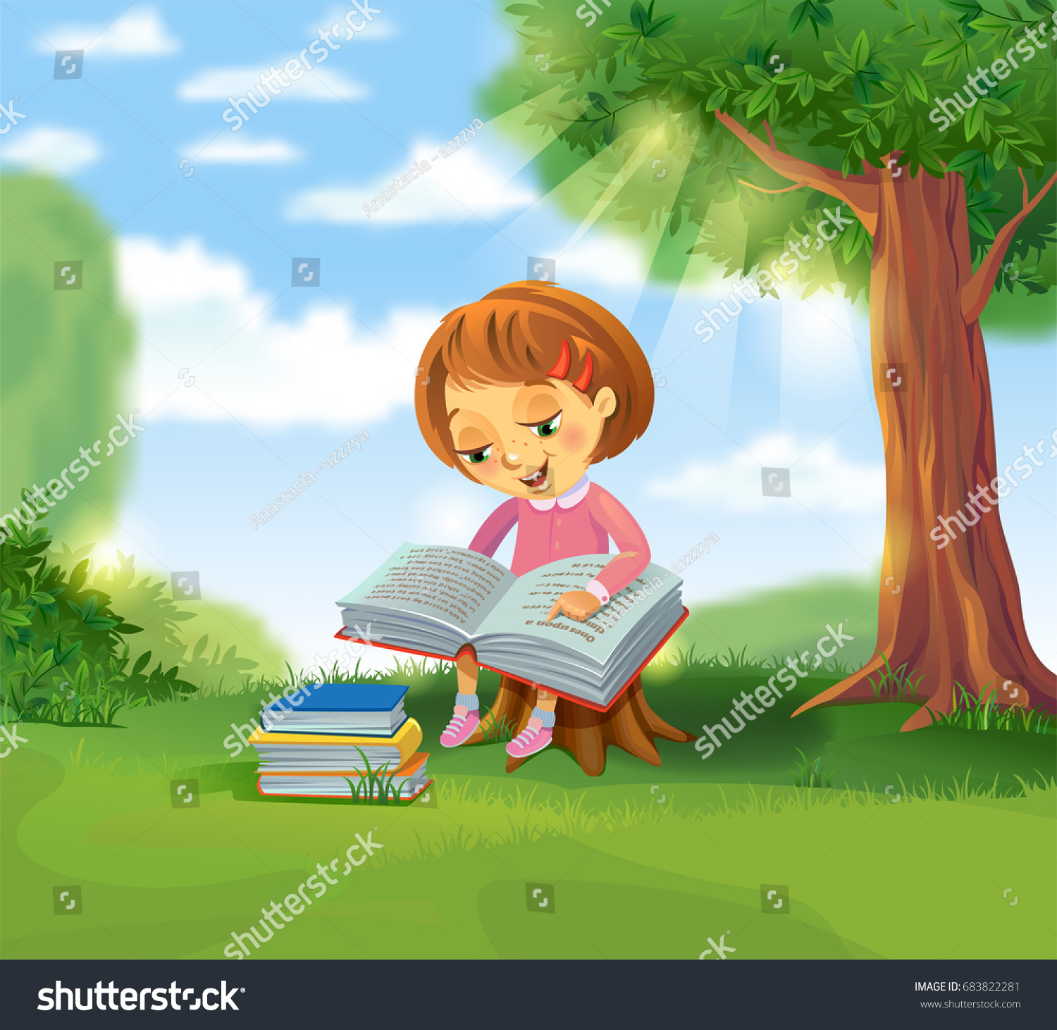 girl reading book outdoors under tree stock vector
