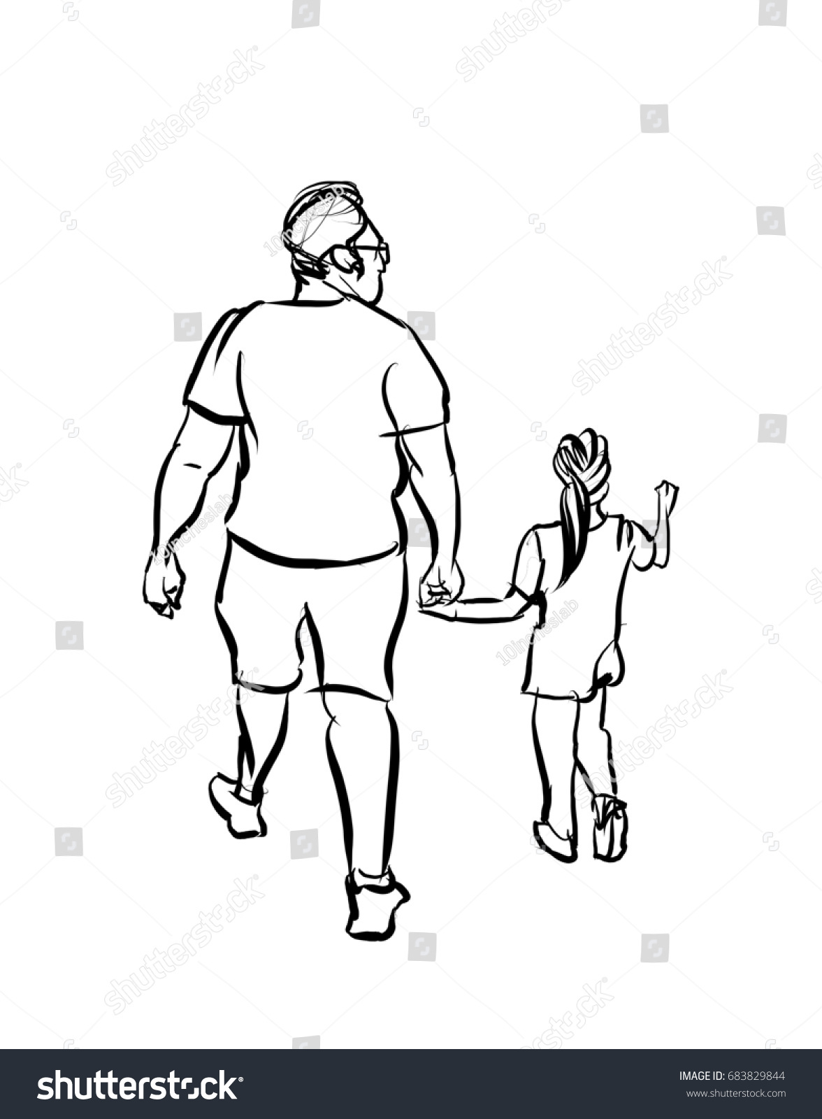 Father and daughter cartoon sketch isolated