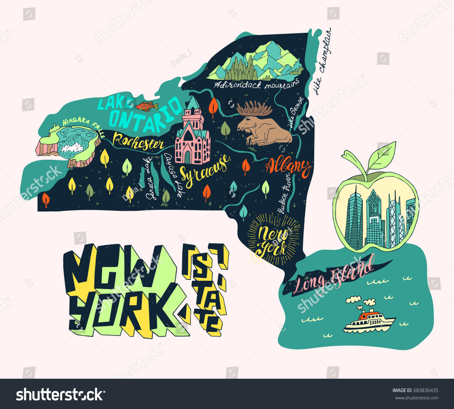 Map Of New York State Usa.Illustrated Map New York State Usa Stock Vector Royalty Free