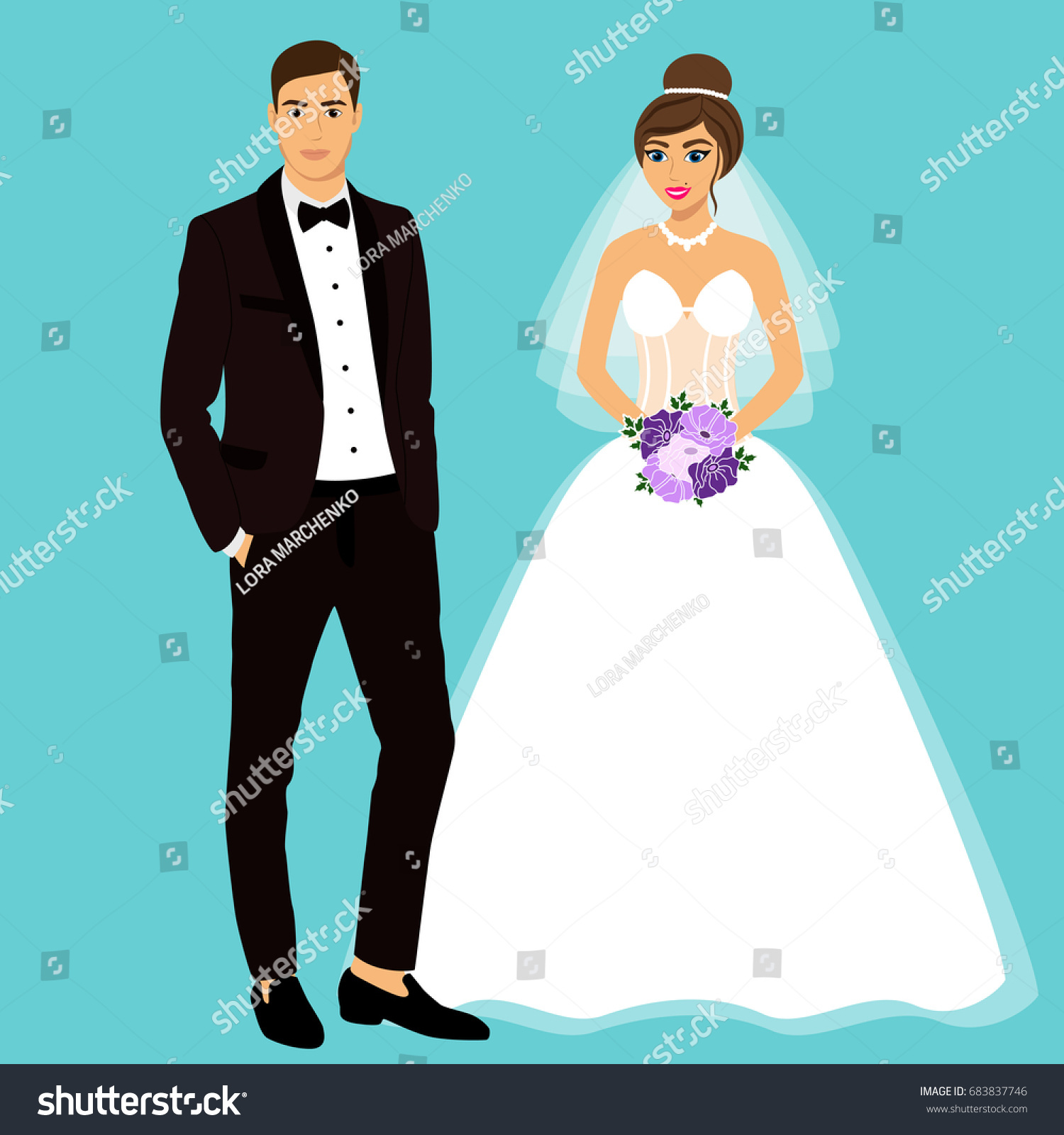 Wedding Card Clothes Bride Groom Wedding Stock Illustration ...