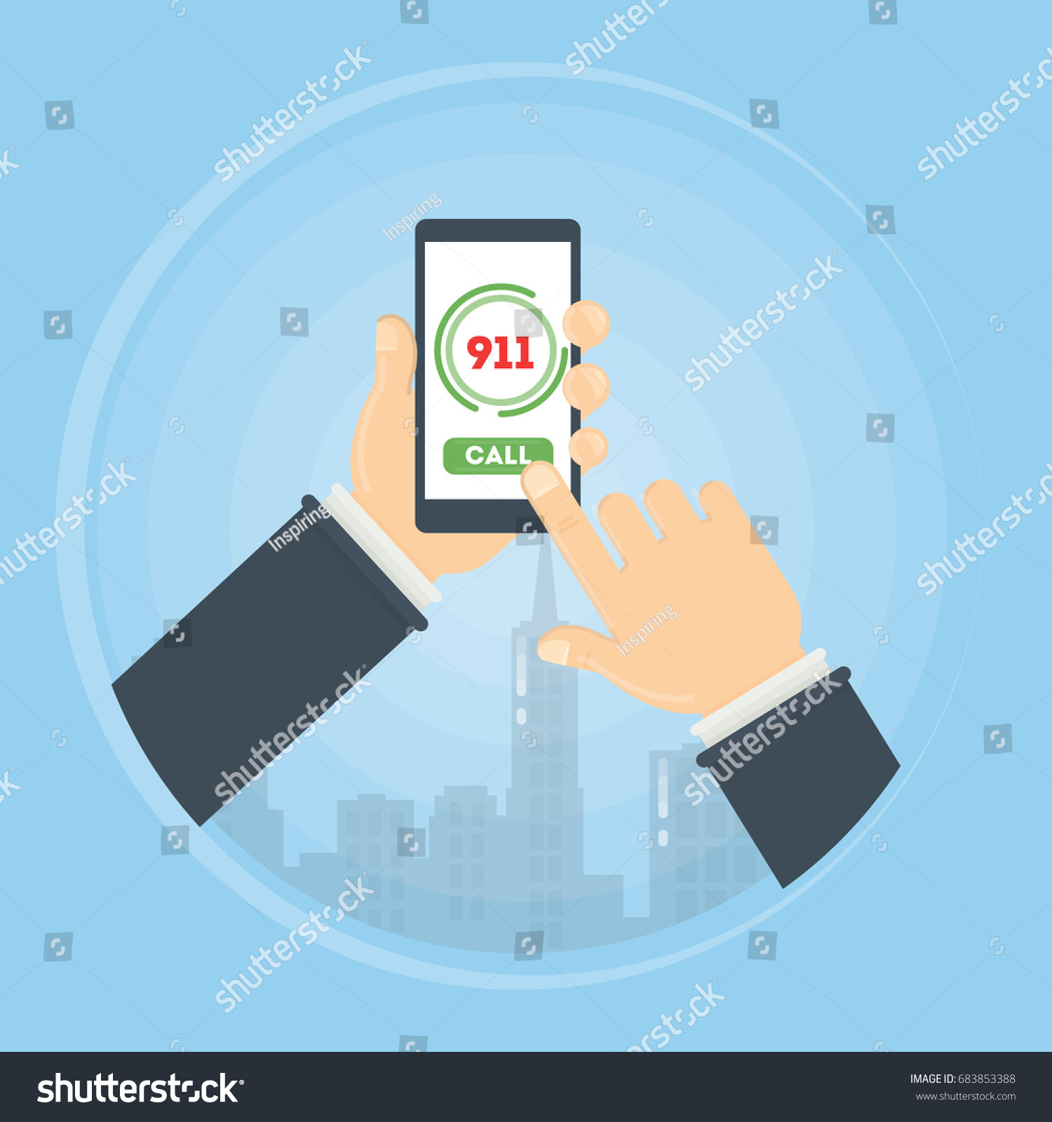 Call Ambulance Person Holds Smartphone Calls Stock