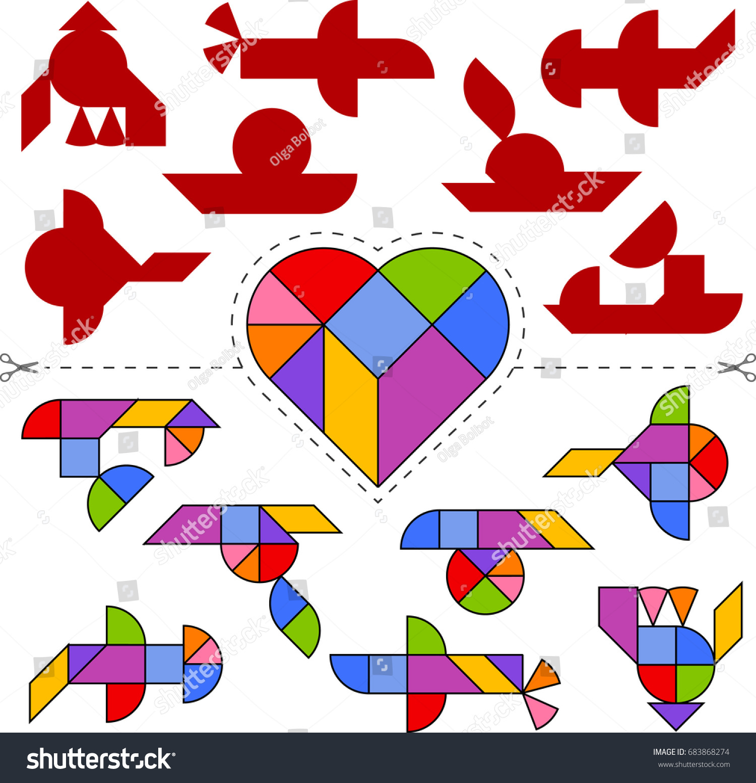 tangram herz vorlage  legespiele logoplay holzspiele