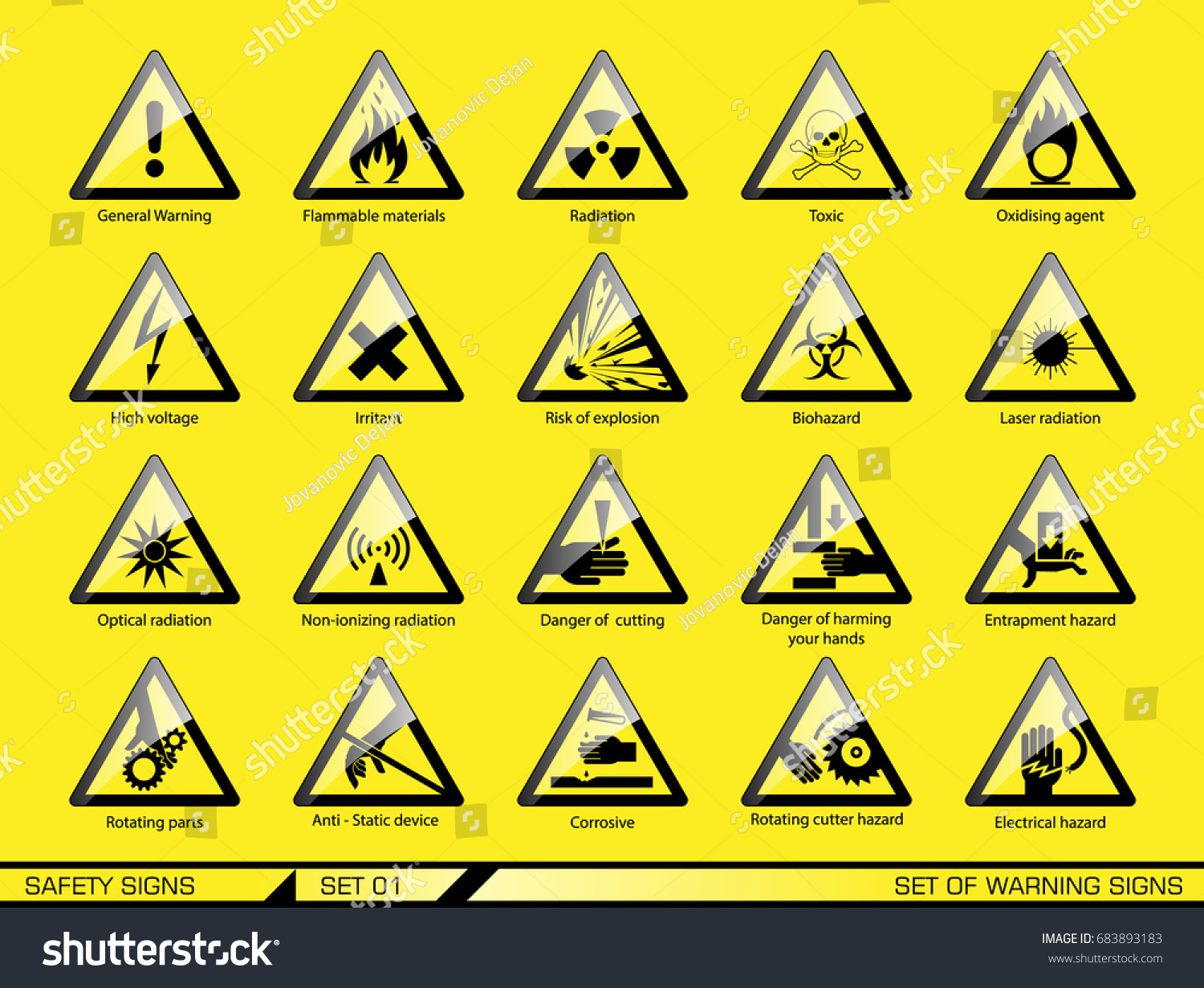 Set Safety Warning Signs Signs Danger Stock Vector 683893183