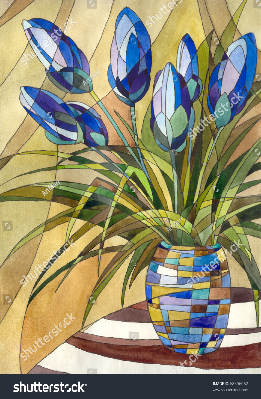 decorative painting abstract flowers in a vase with geometric pattern - Decorative Painting