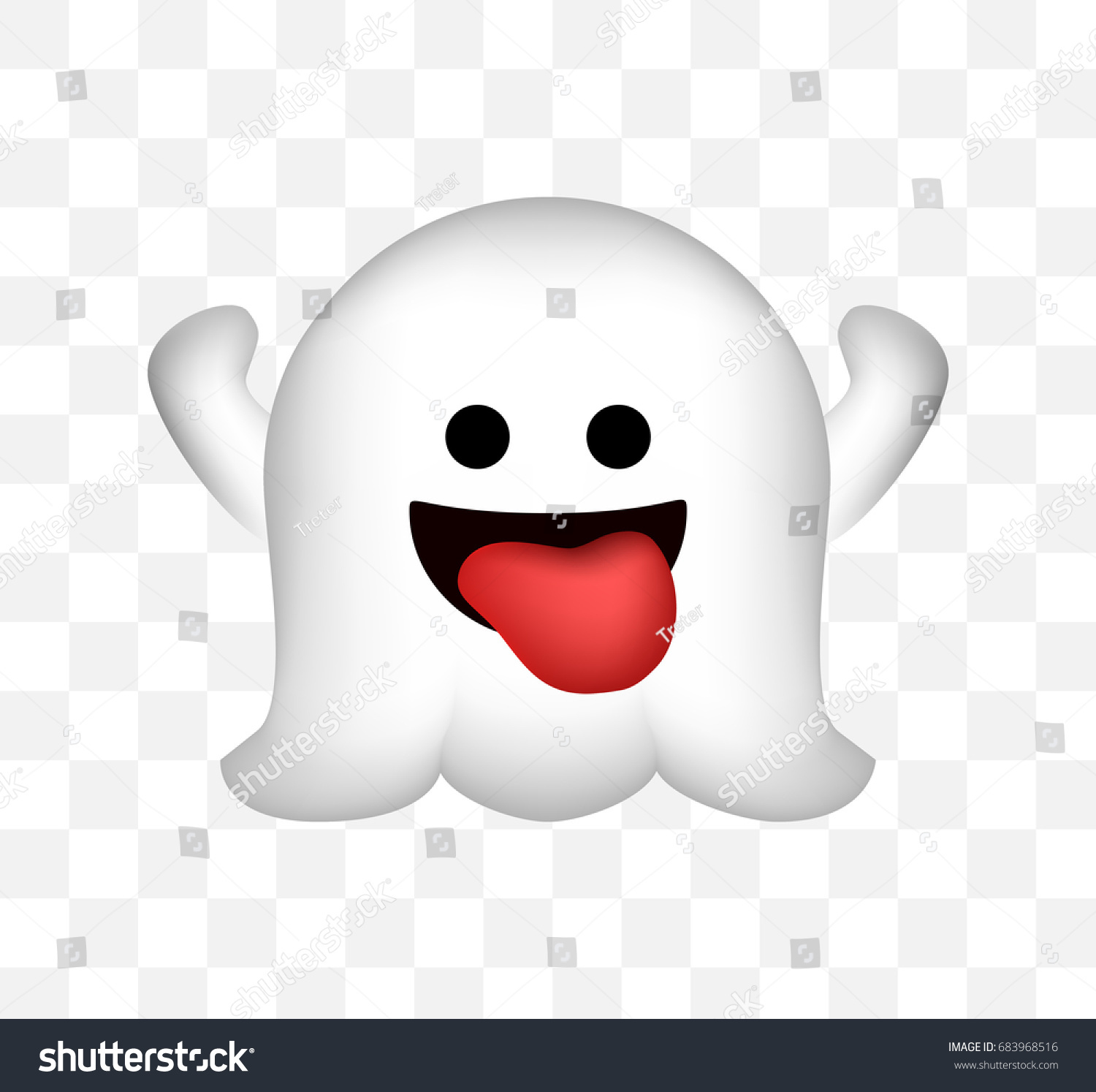 Cute Ghost Icon On Transparent Background Stock Vector ...