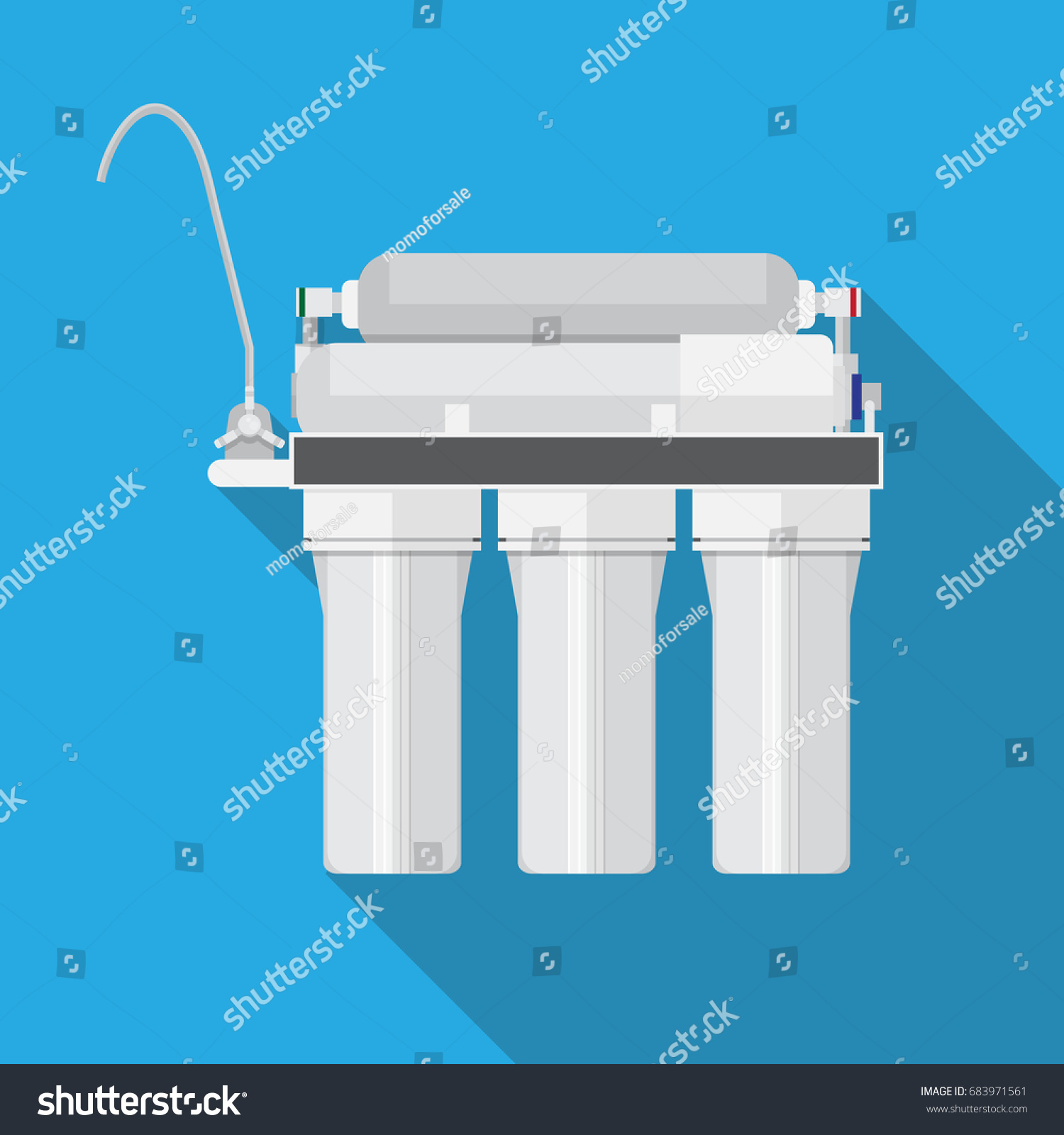 Reverse Osmosis System Water Filter Vector Stock Vector