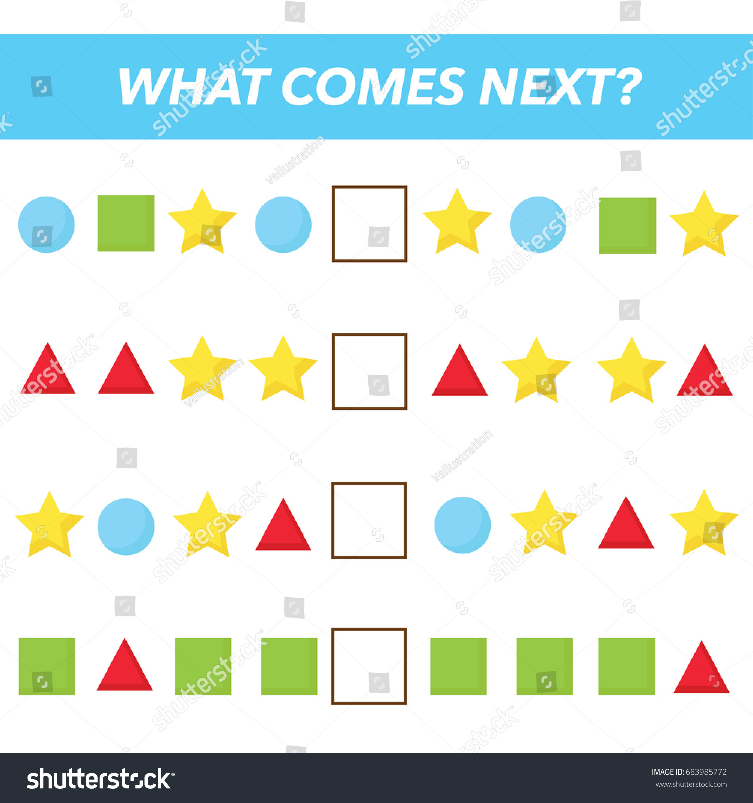 What Comes Next Vector Illustration Preschool Stock Vector 683985772 ...