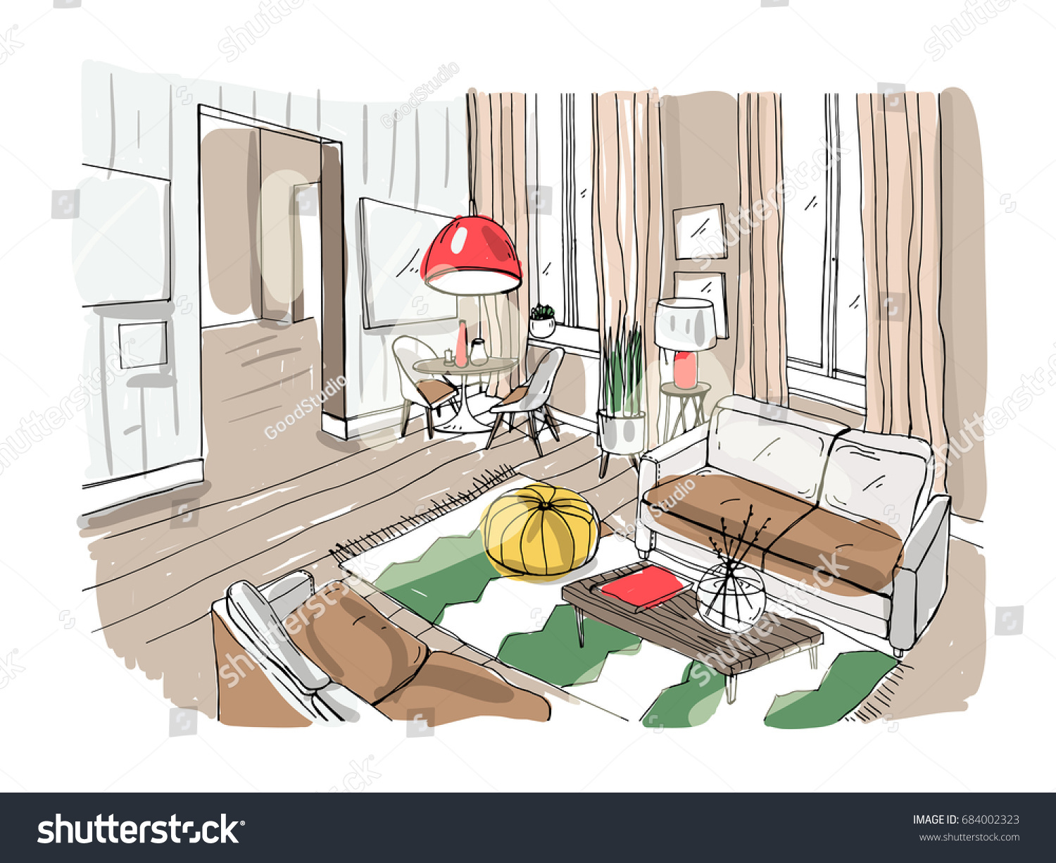 Modern Living Room Interior Furnished Drawing Stock Vector HD ...