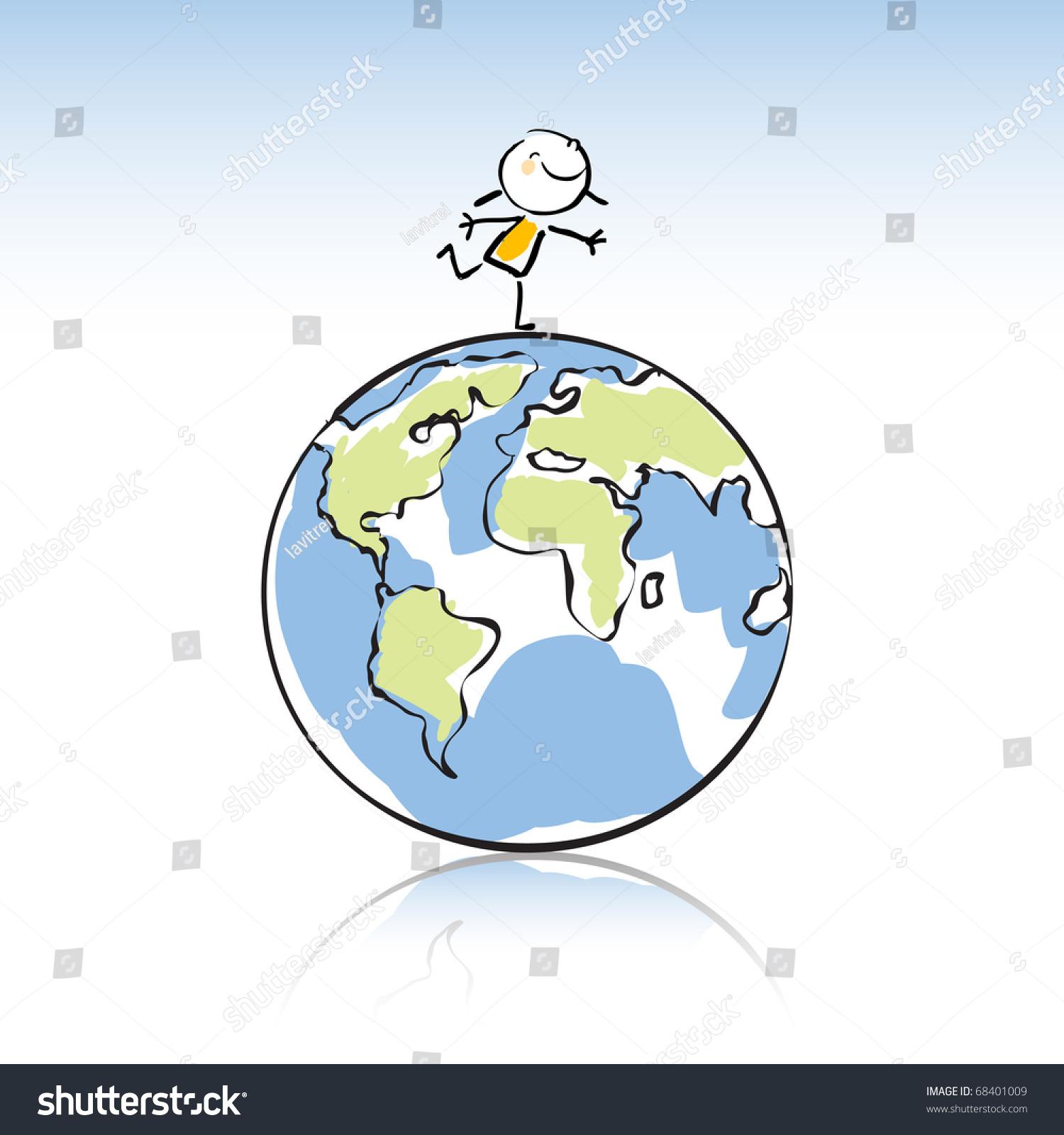 Happy Kid On Top Globe Peace Stock Vector 68401009 ...