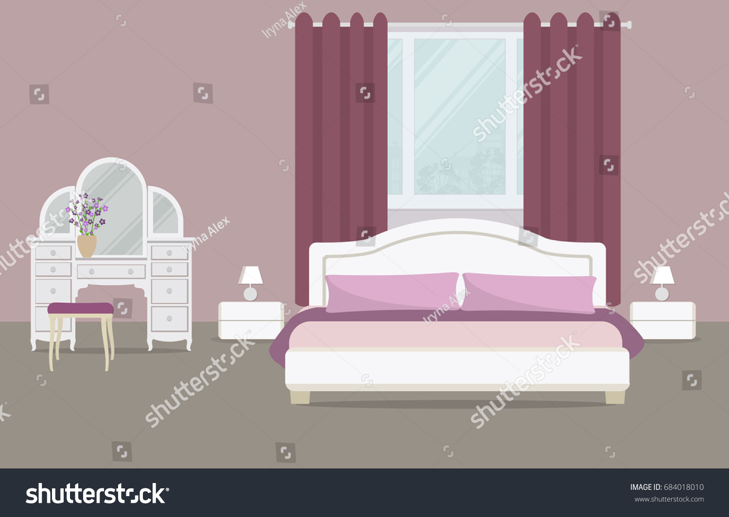 Bedroom purple color there dressing table stock vector 684018010 there is a dressing table a bed with pillows geotapseo Image collections