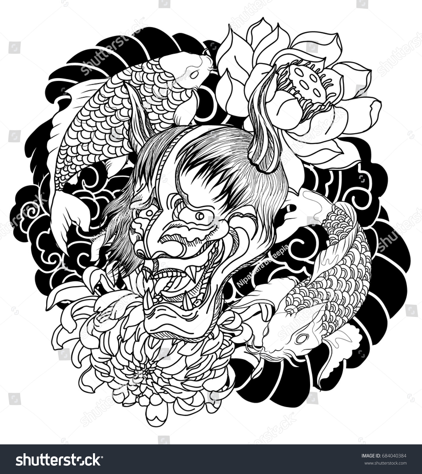 japanese demon mask carp fish tattoo stock vector 684040384