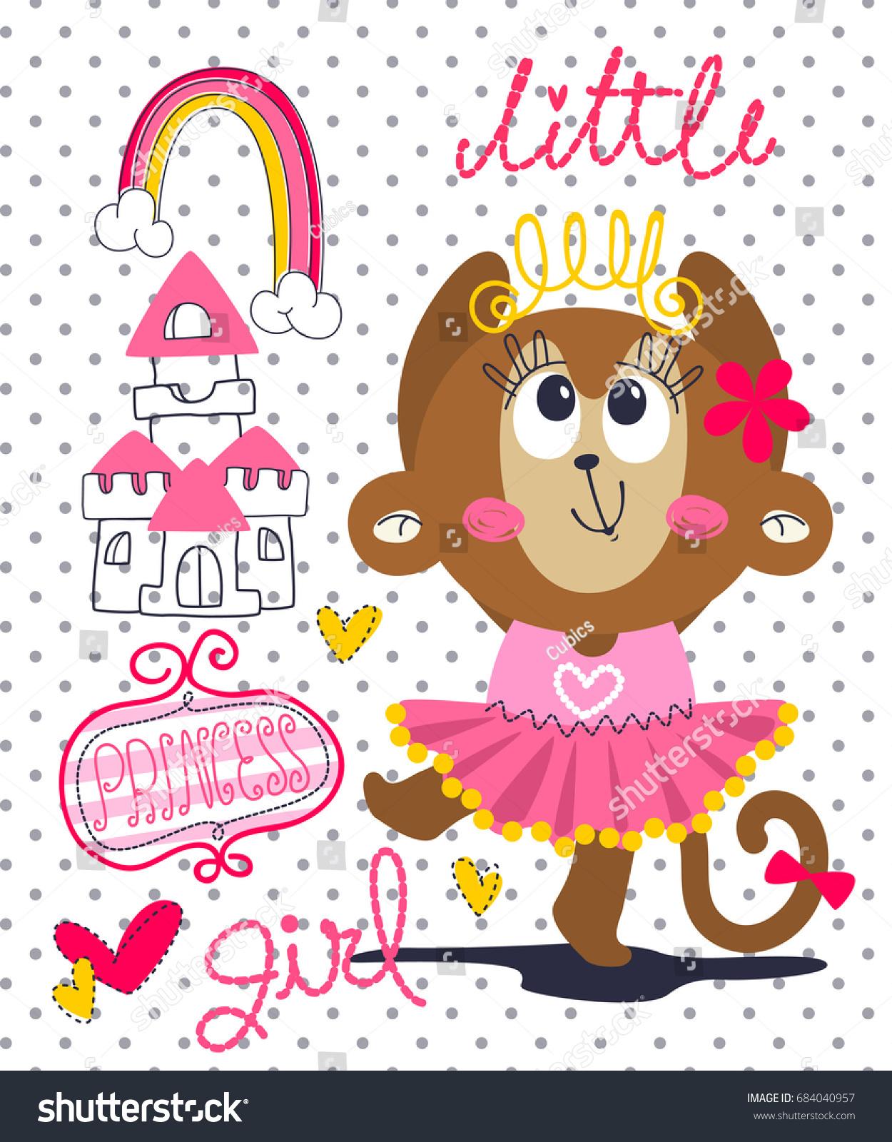 happy cartoon princess monkey pink stock vector 684040957
