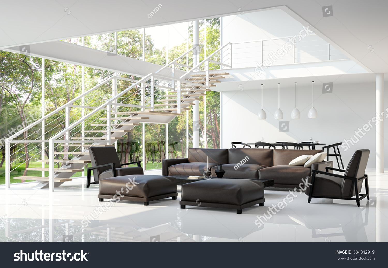 Modern White Living Room Dining Room Stock Illustration 684042919 ...