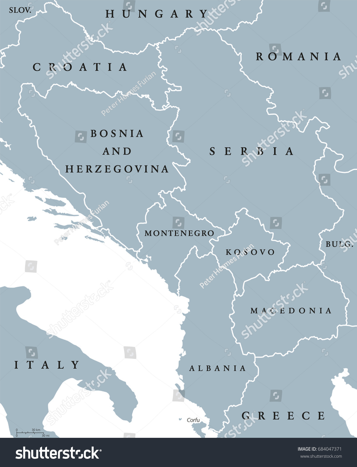 central balkan political map with borders southeastern countries on the balkanpeninsula in europe from. central balkan political map borders southeastern stock vector