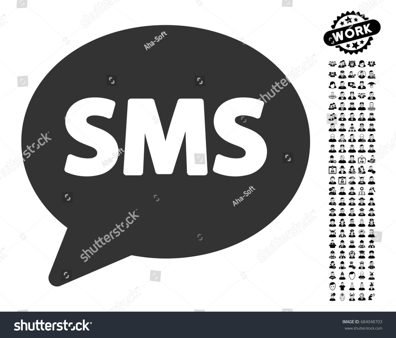 Sms icon black bonus job symbols stock vector 684048703 shutterstock sms icon with black bonus job symbols sms vector illustration style is a flat gray biocorpaavc Images