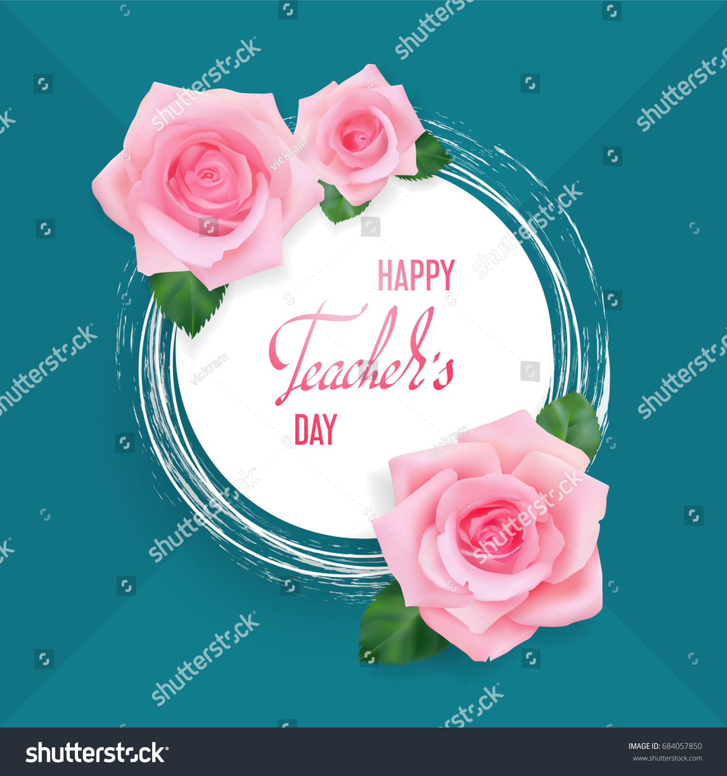 Happy Teachers Day Greeting Card White Stock Vector Royalty Free