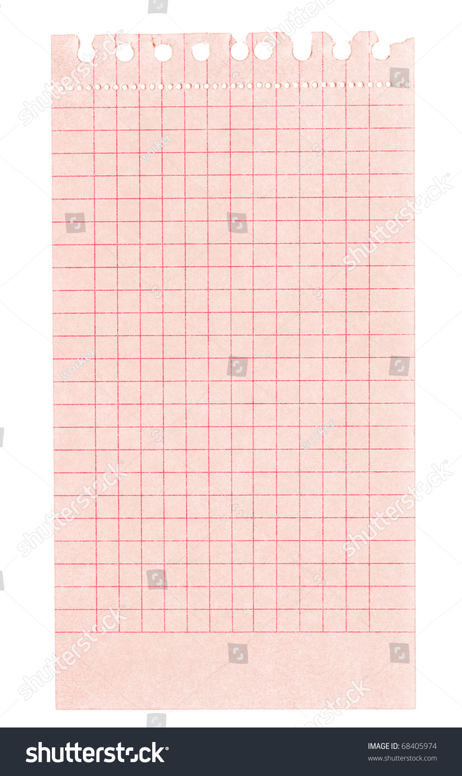 Strip red squared paper torn out stock photo 68405974 shutterstock strip of red squared paper torn out of a ring binder top edge is frayed malvernweather Image collections