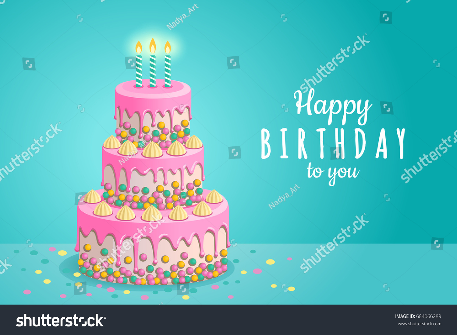 Happy Birthday Greeting Card Vector Illustration Of A Beautiful Three Tier White Cake